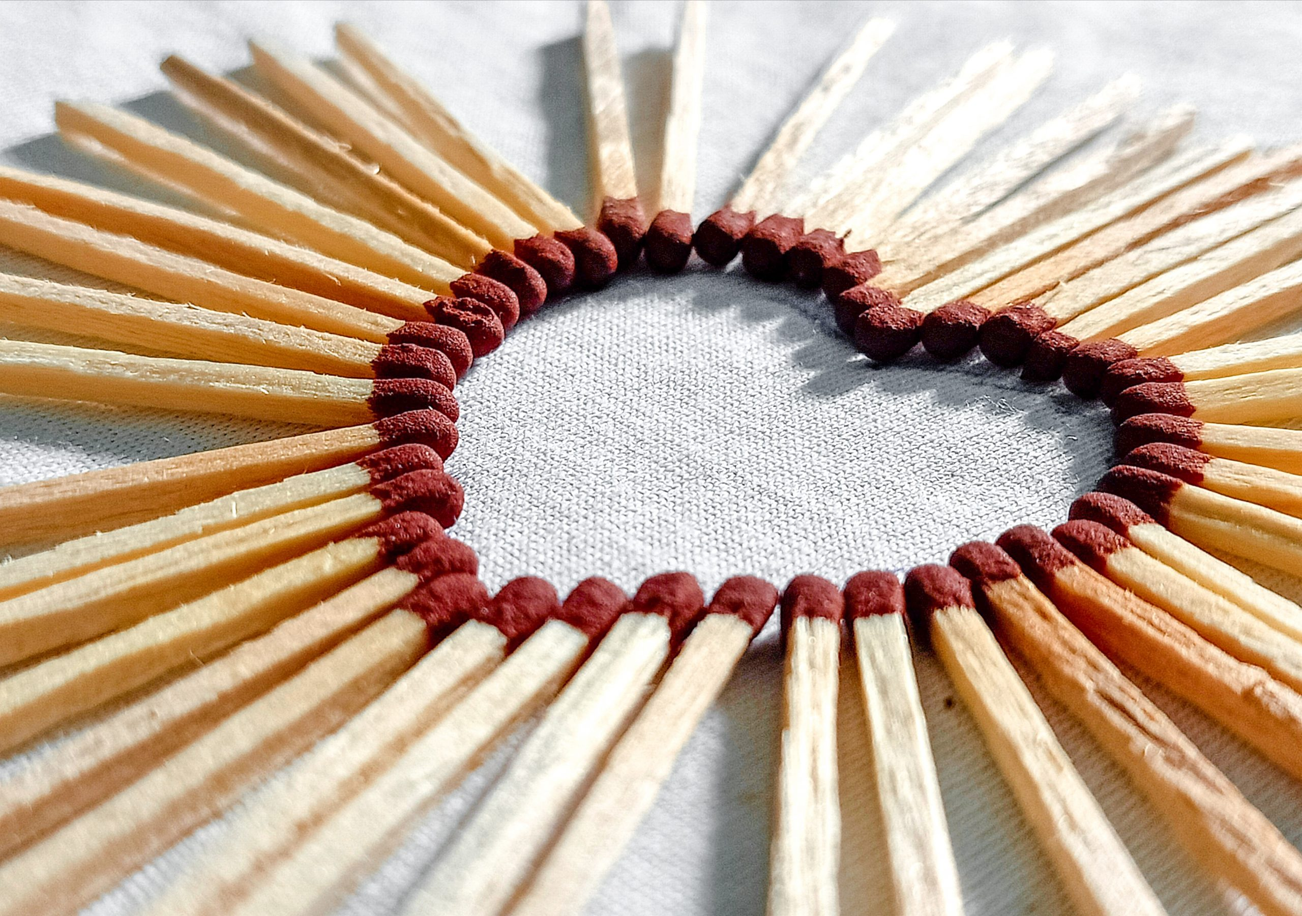 Heart shape made with matchsticks
