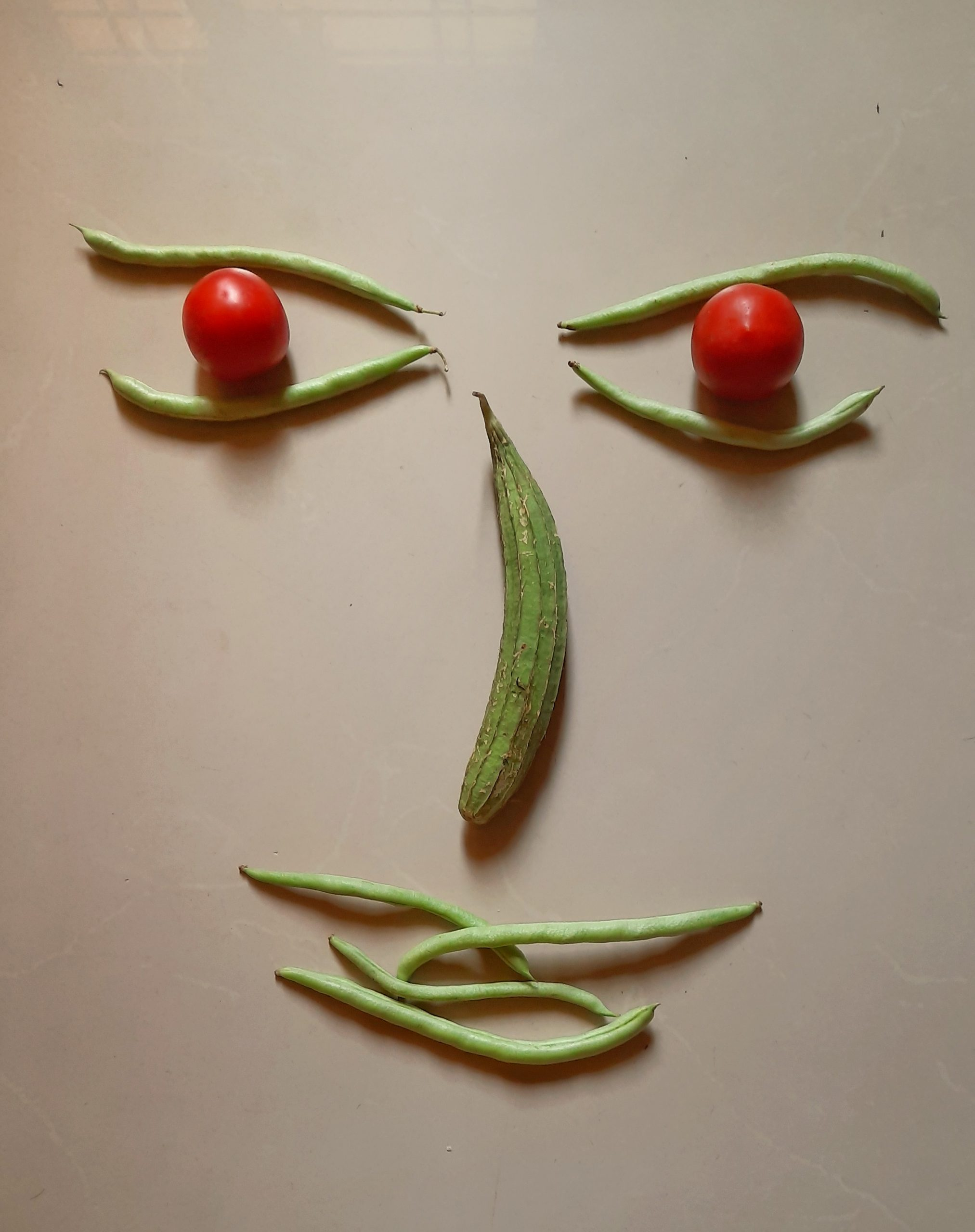 Human face made with vegetables