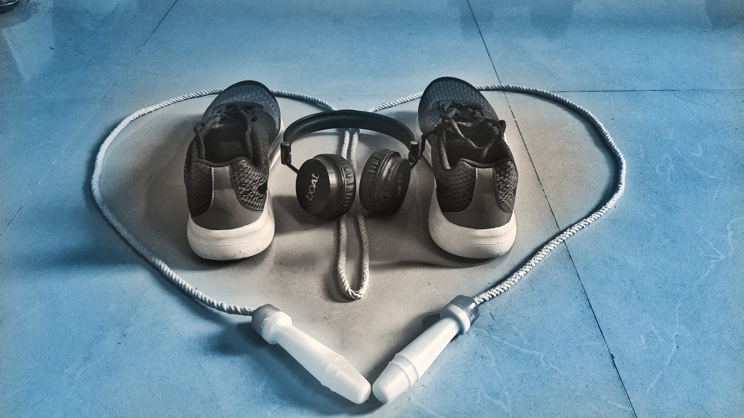 Jumping rope, headset and shoes