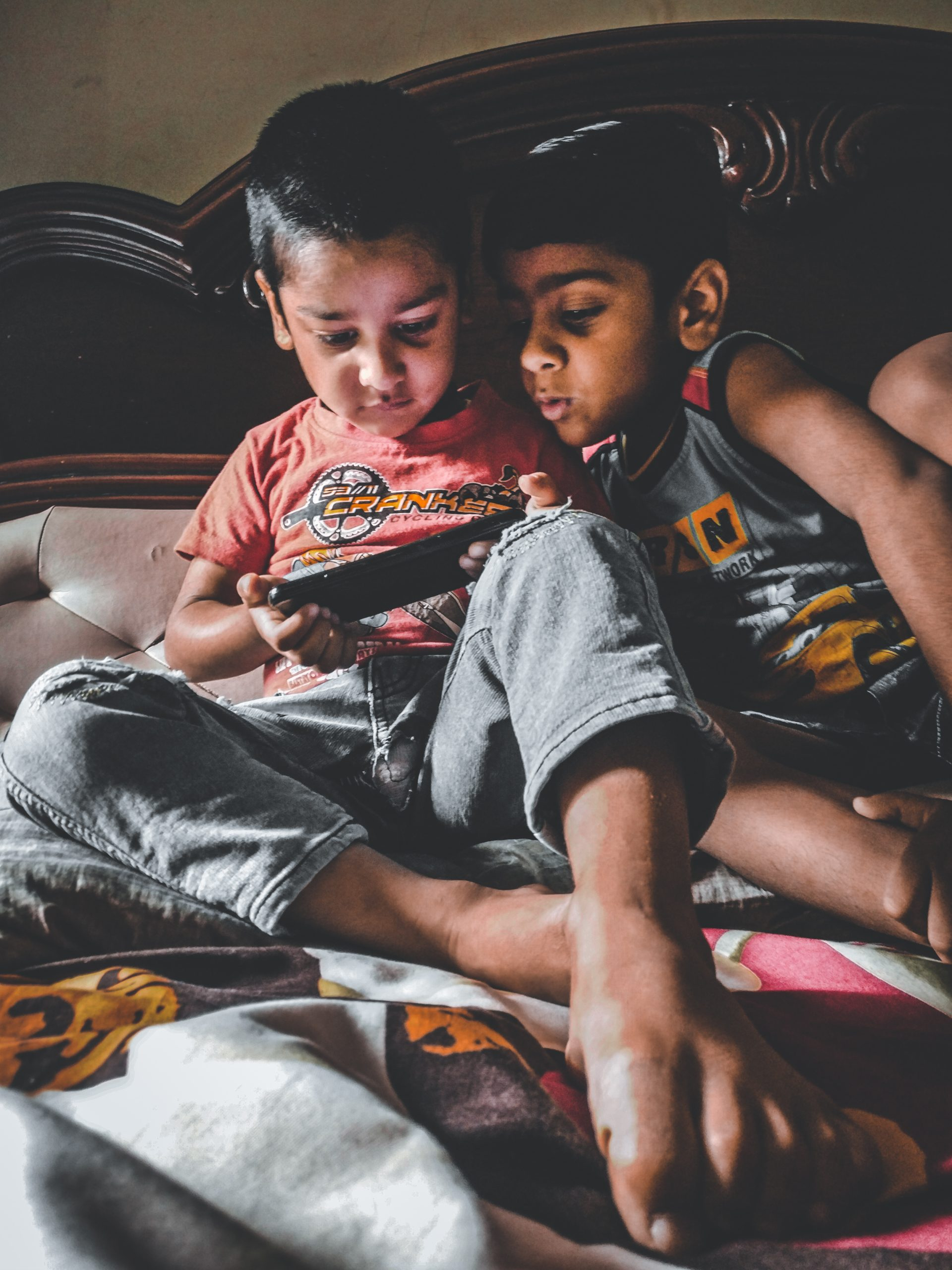 Kids playing games in mobile
