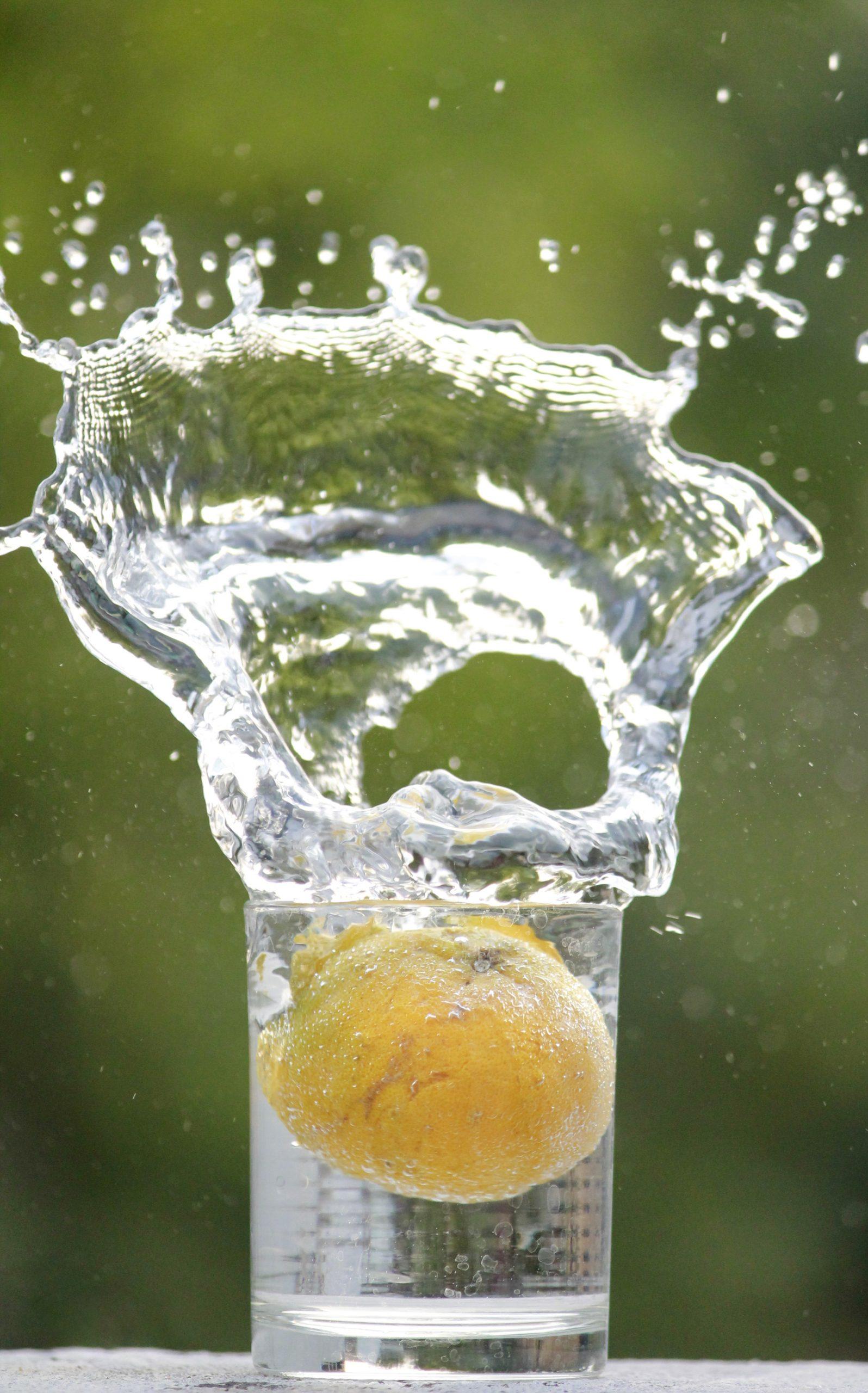 Lemon in water glass