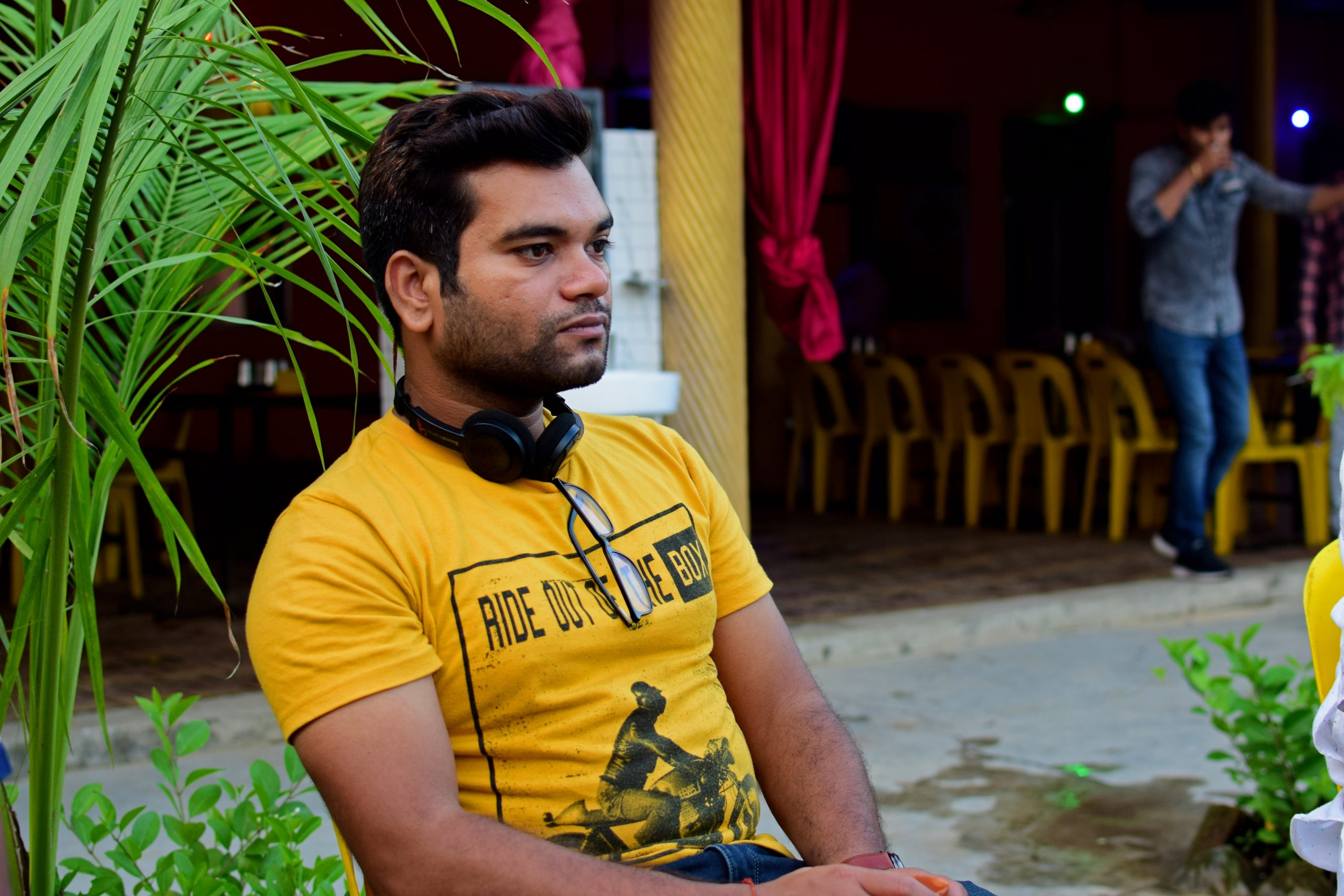 Man sitting with headphone