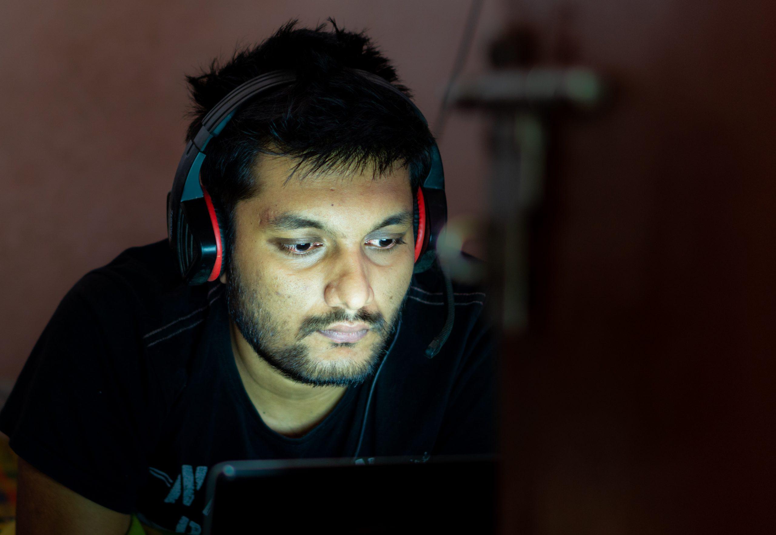 Man working late night on laptop