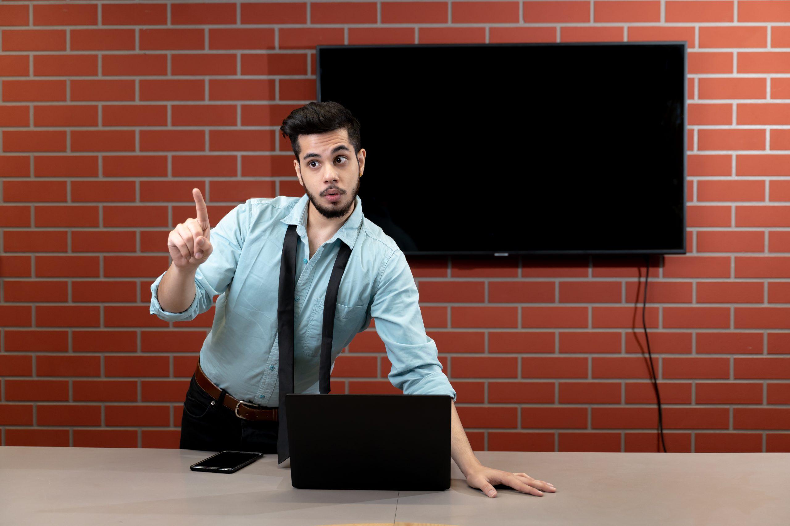 Manager giving presentation