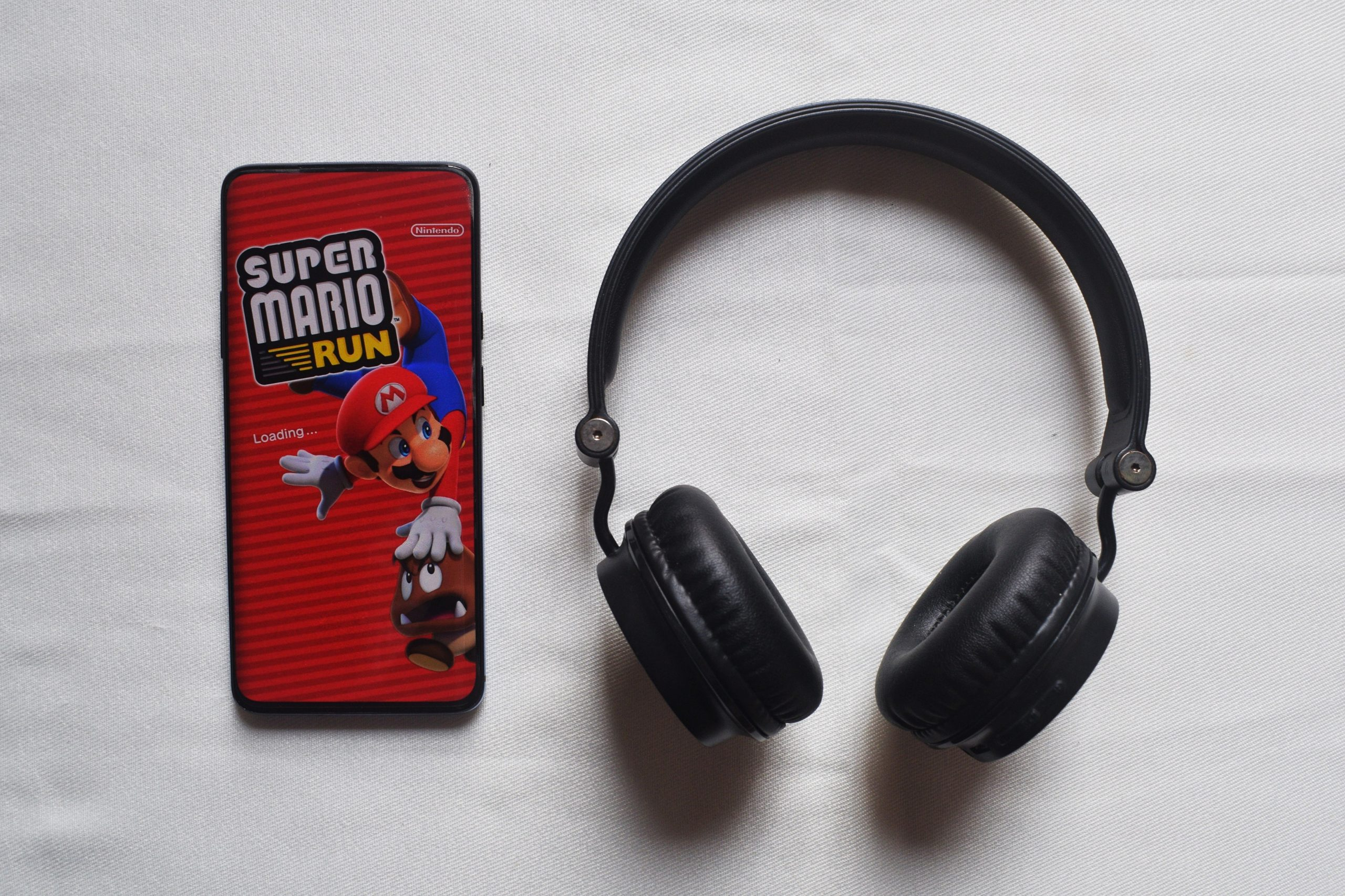 mobile game and headphones