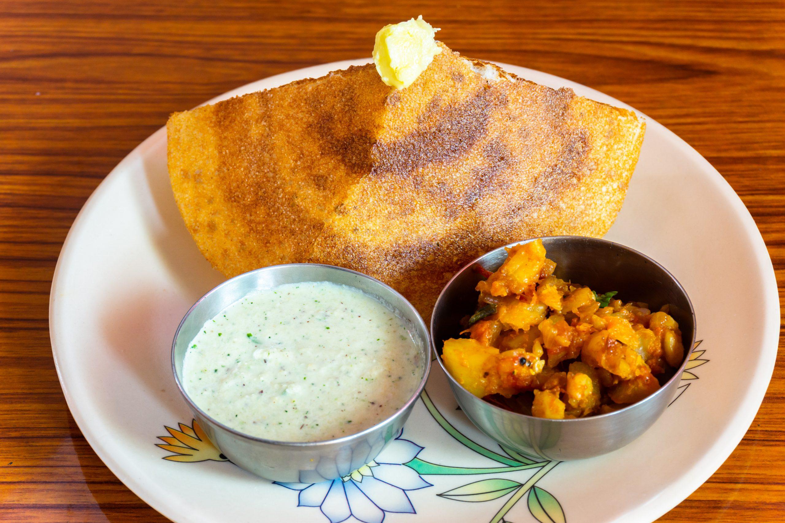 Masala dosa with potato