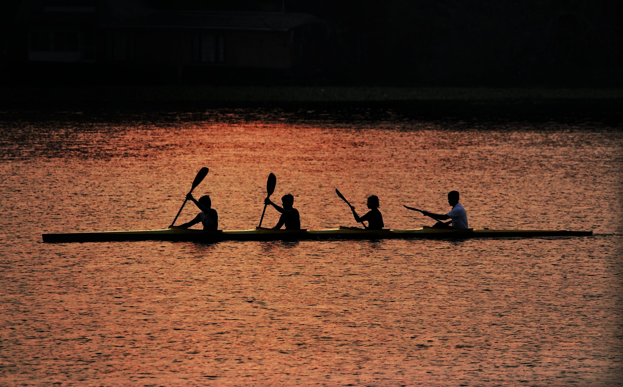 Men rowing a boat with oars