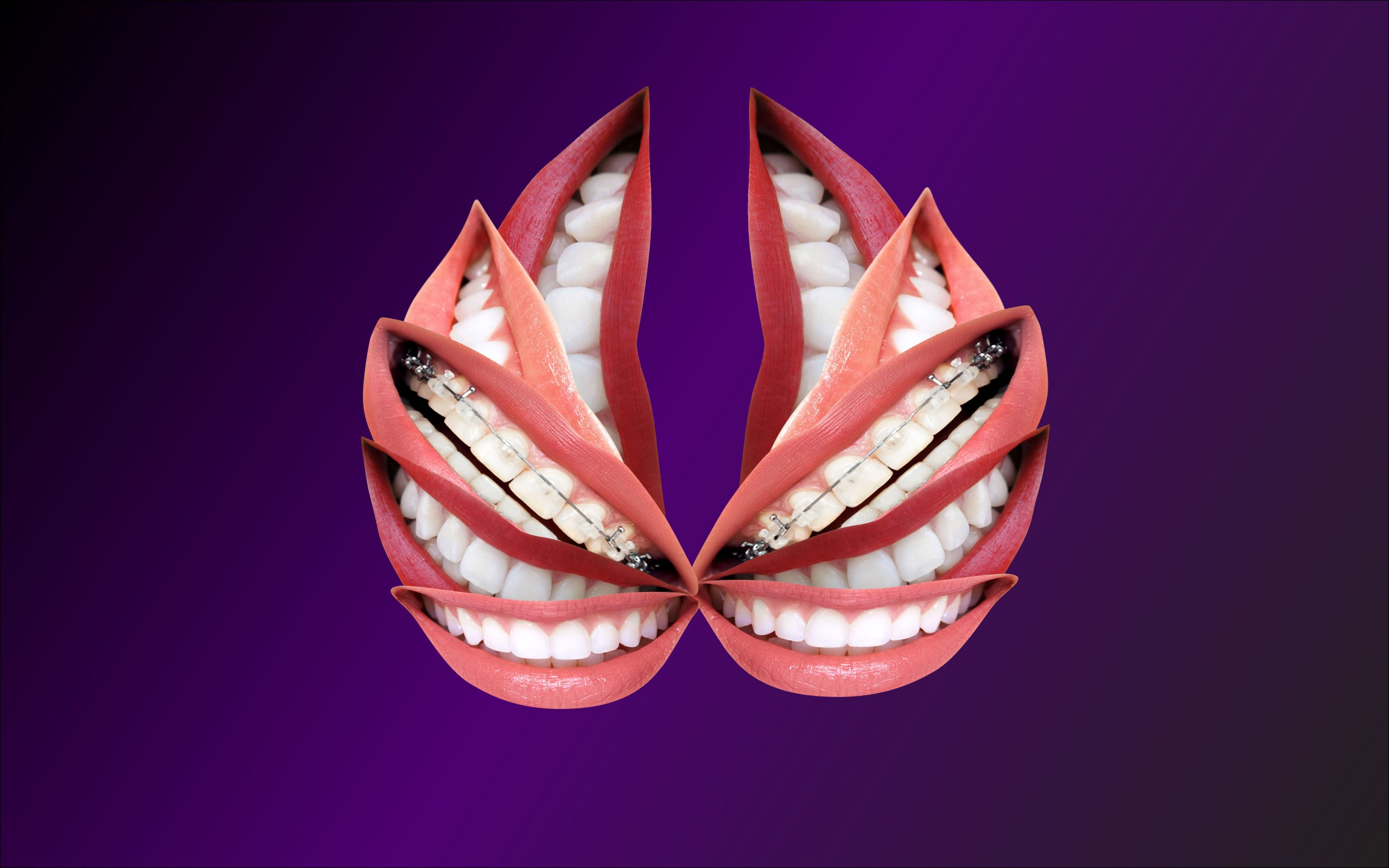 Mirroring of smiling dental teeth