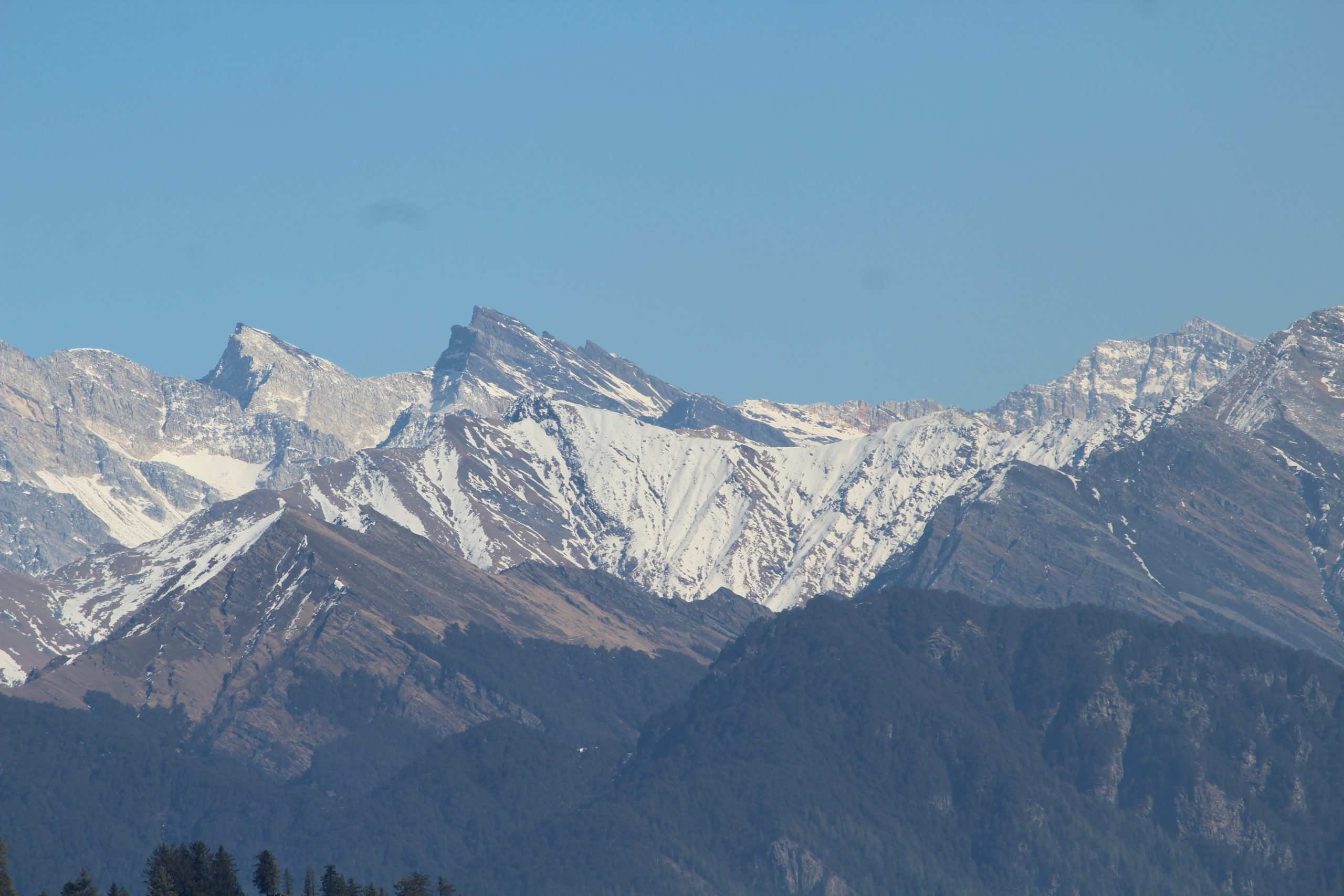 Mountain peaks and glaciers