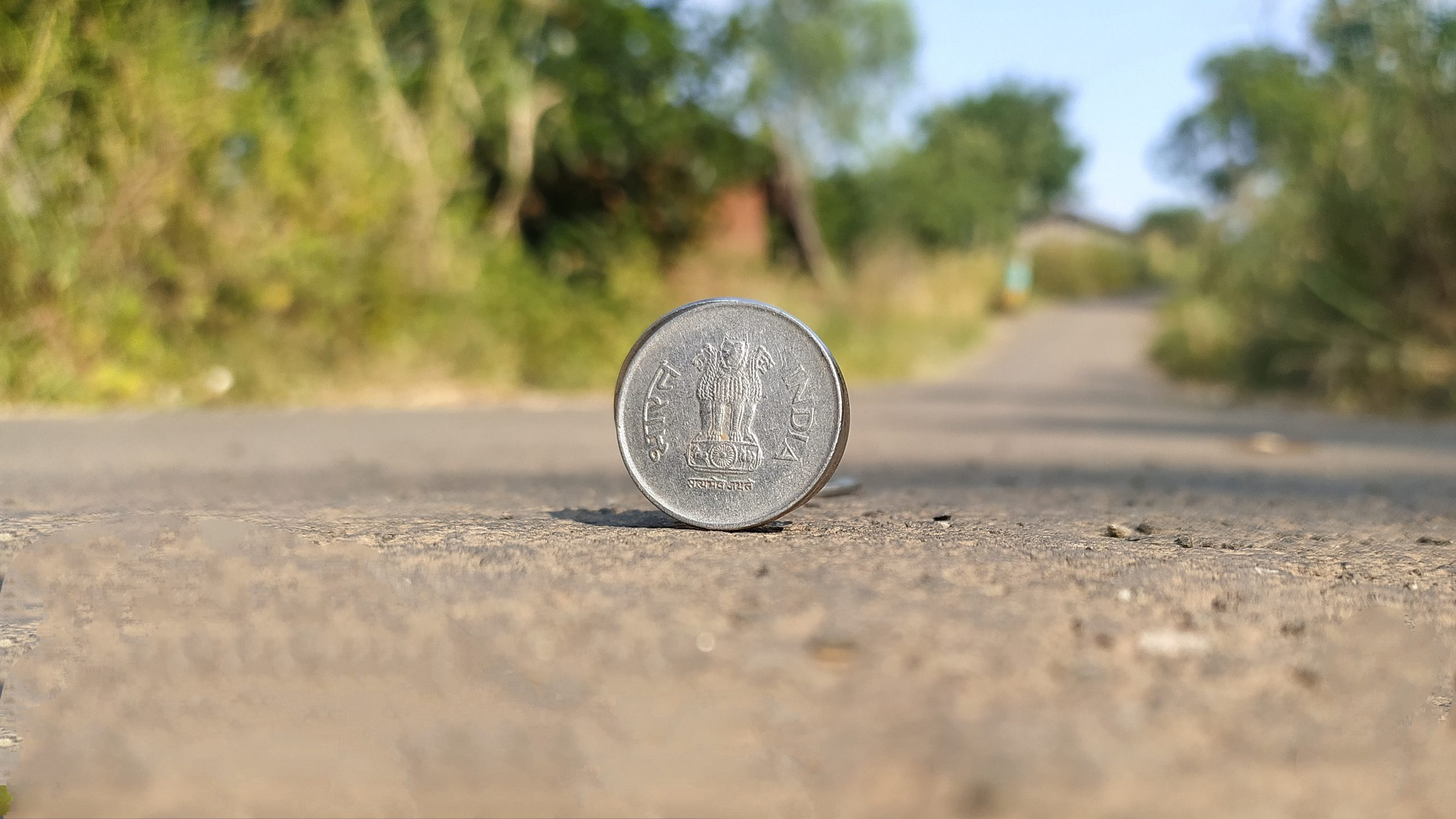 coin on road