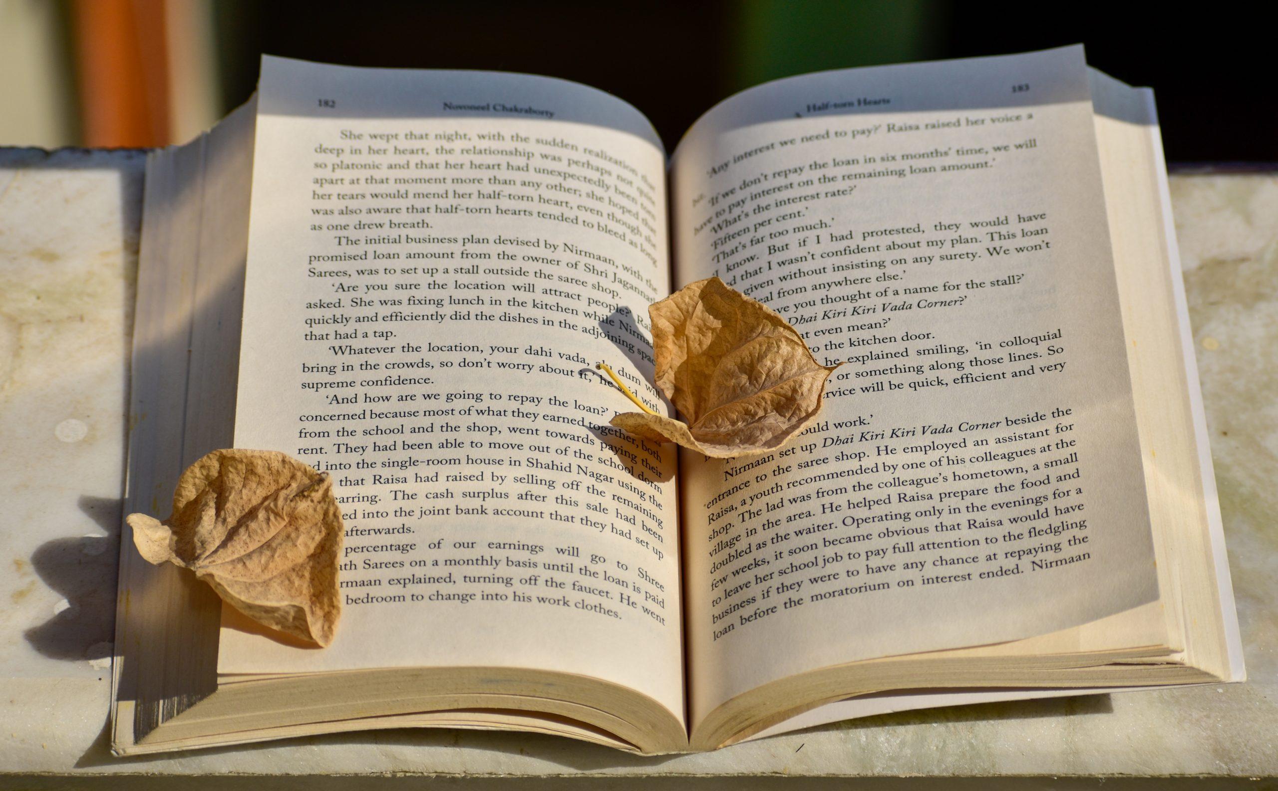 dried petals in a book