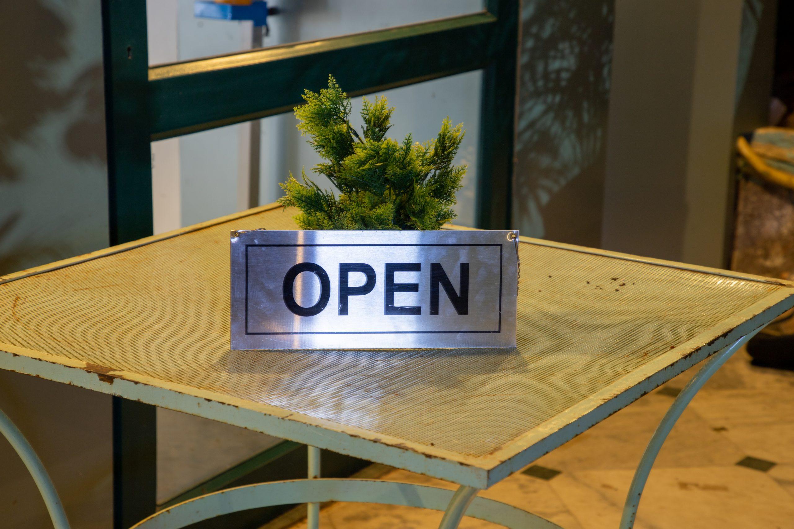 Open board in restaurant