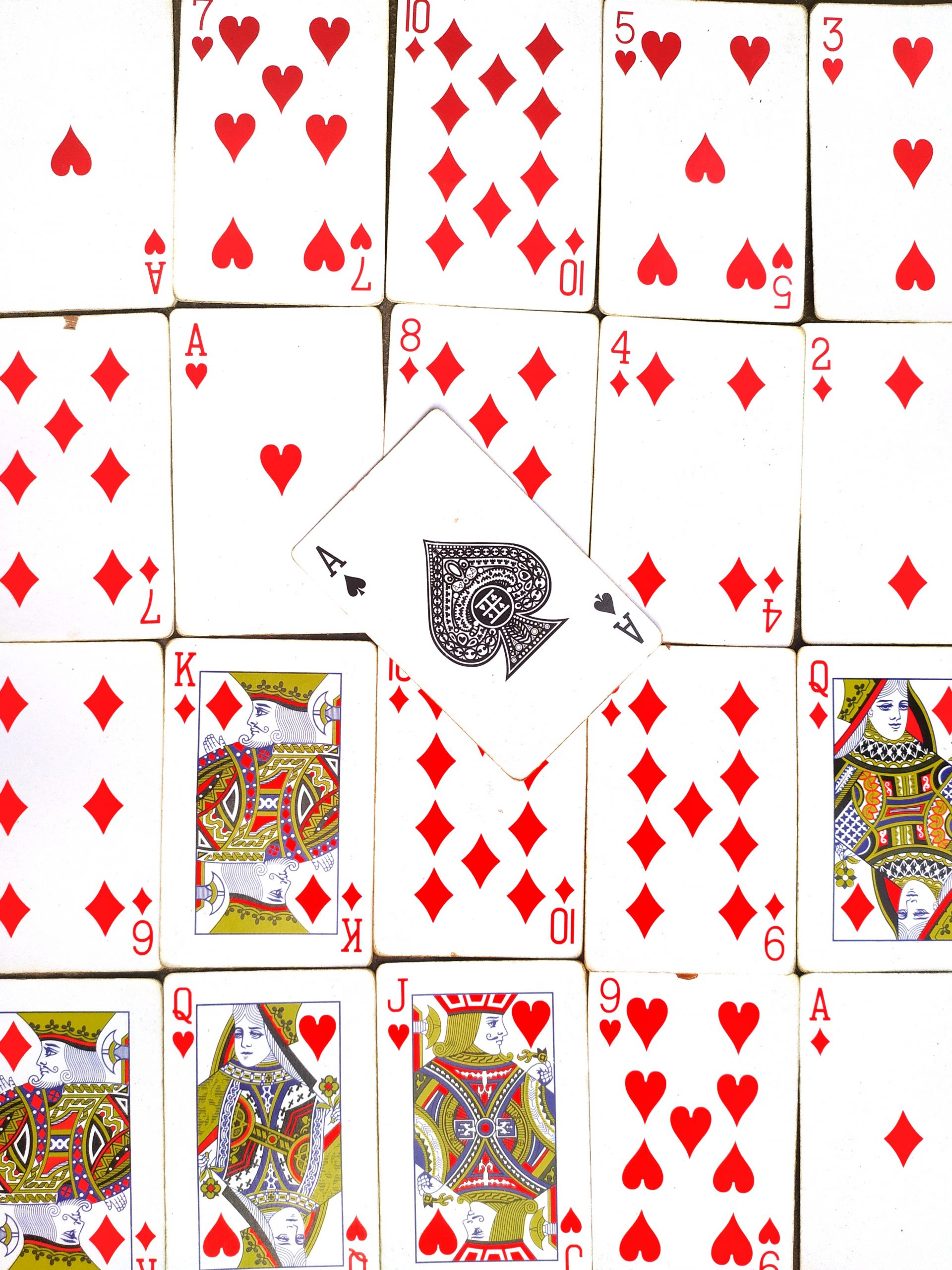 Playing cards arranged