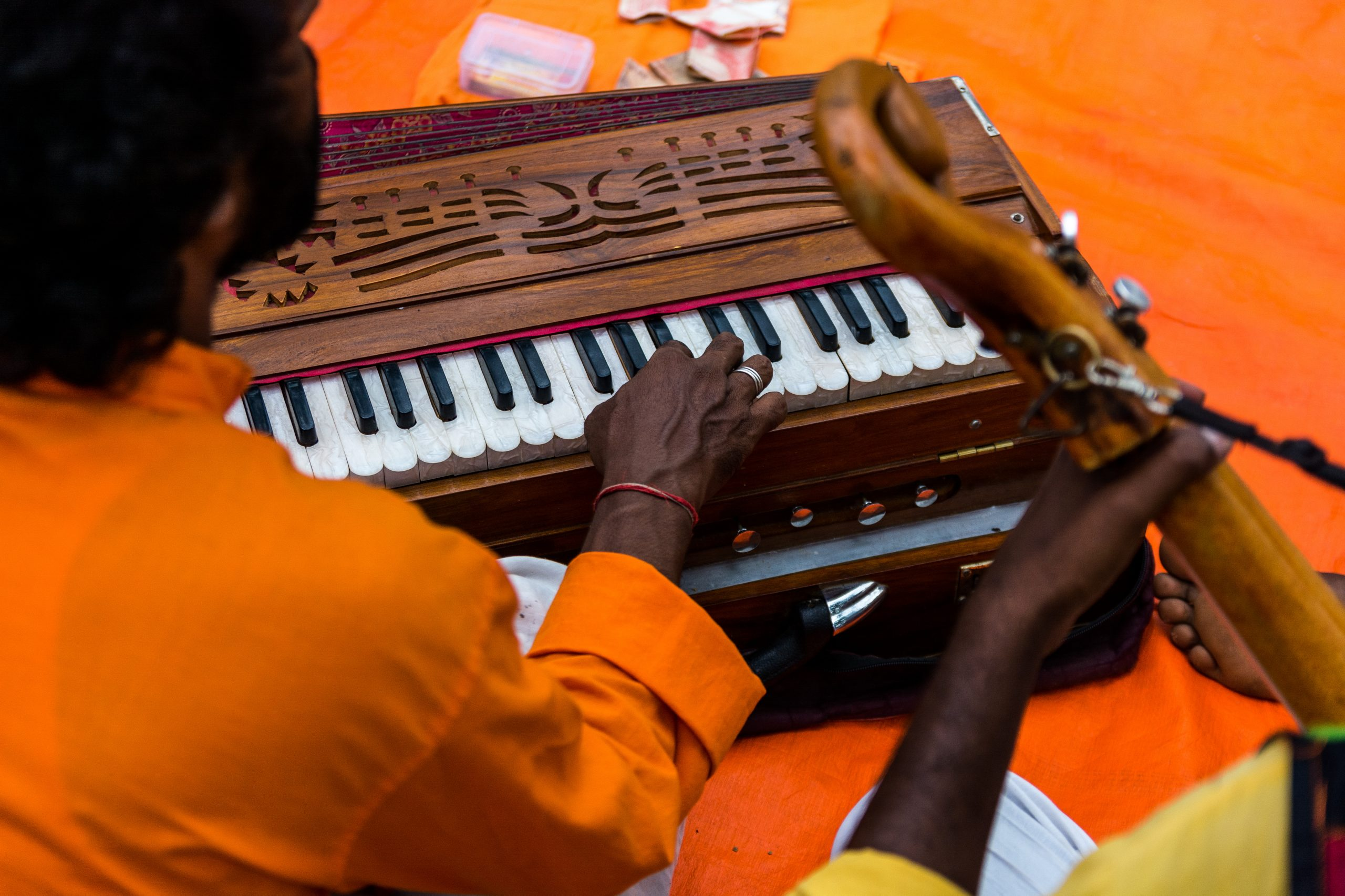 Playing harmonium