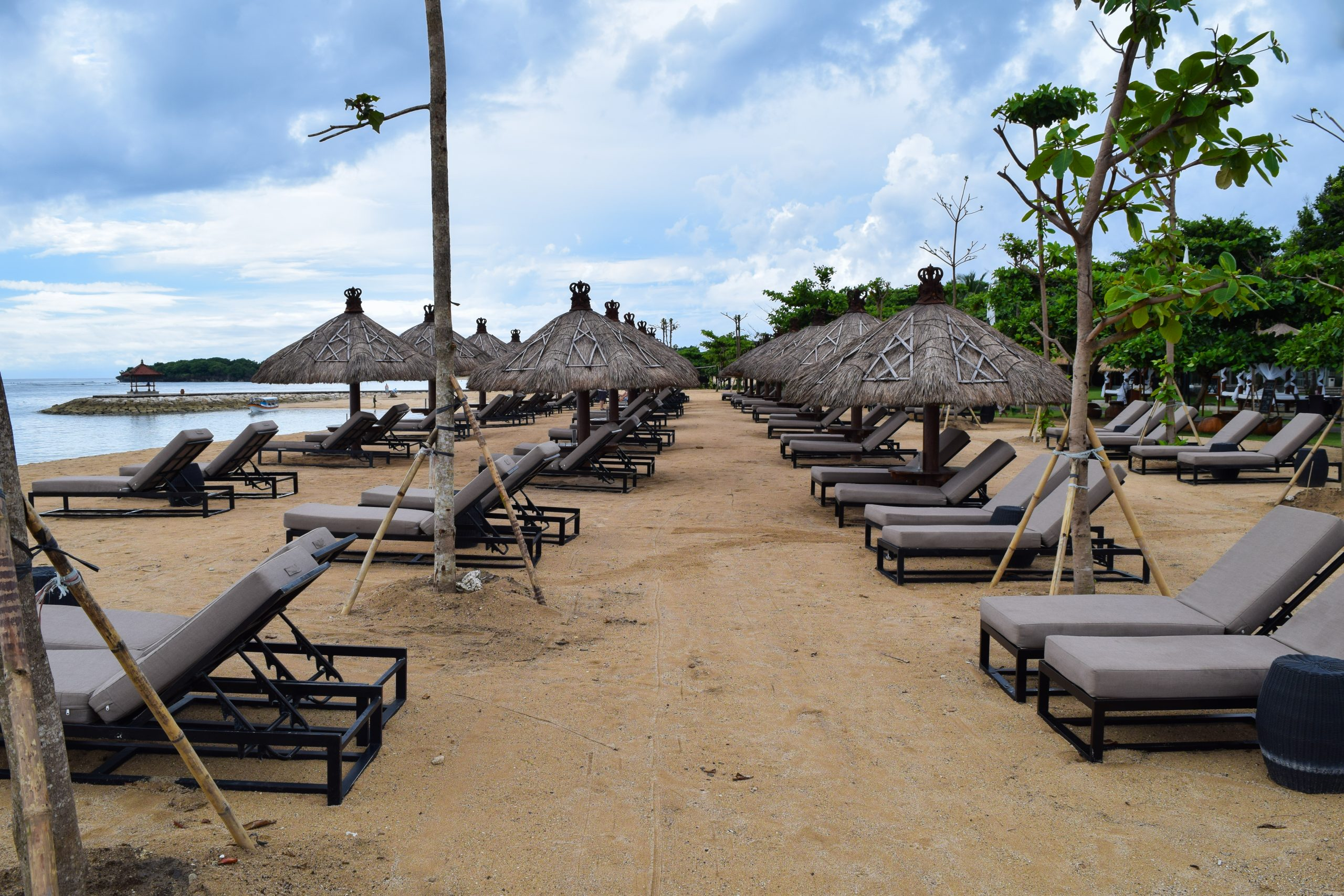 Resting chairs at a beach in Bali