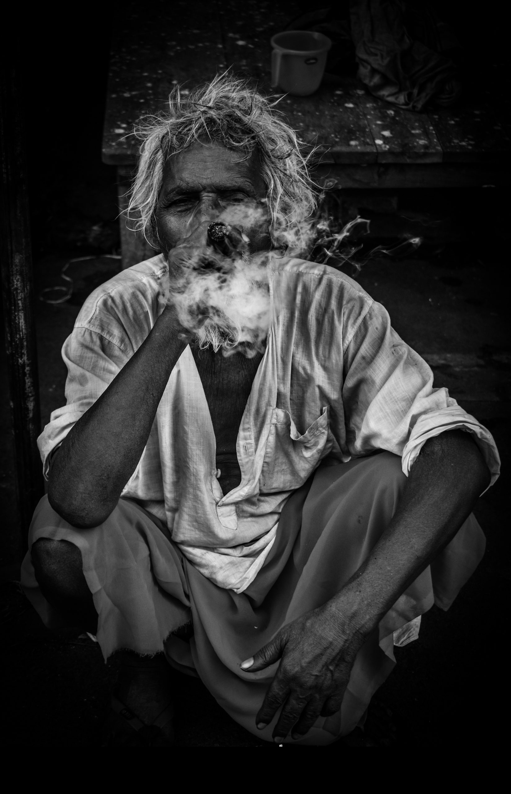 old man smoking