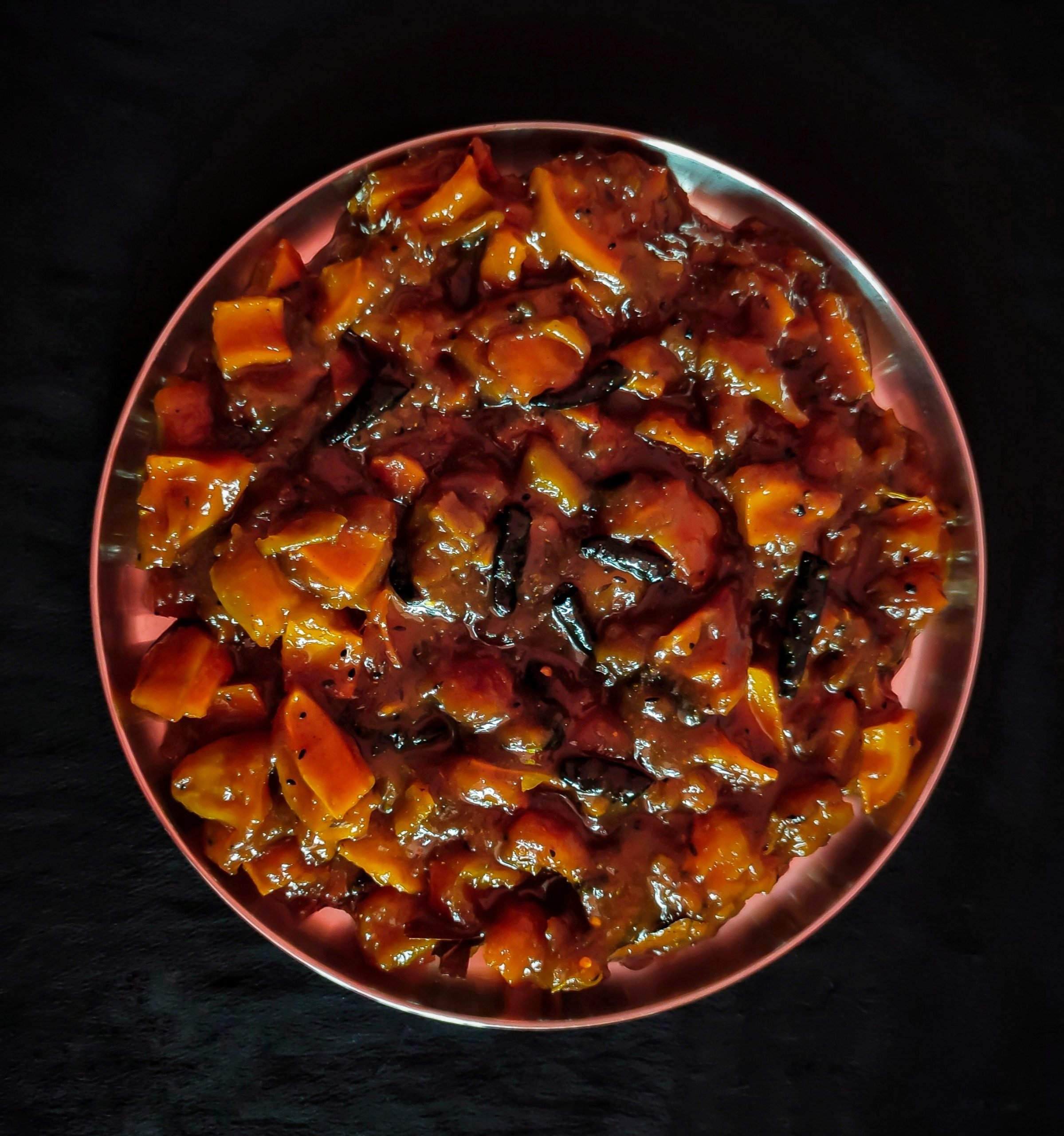 Spicy mango pickle in a plate