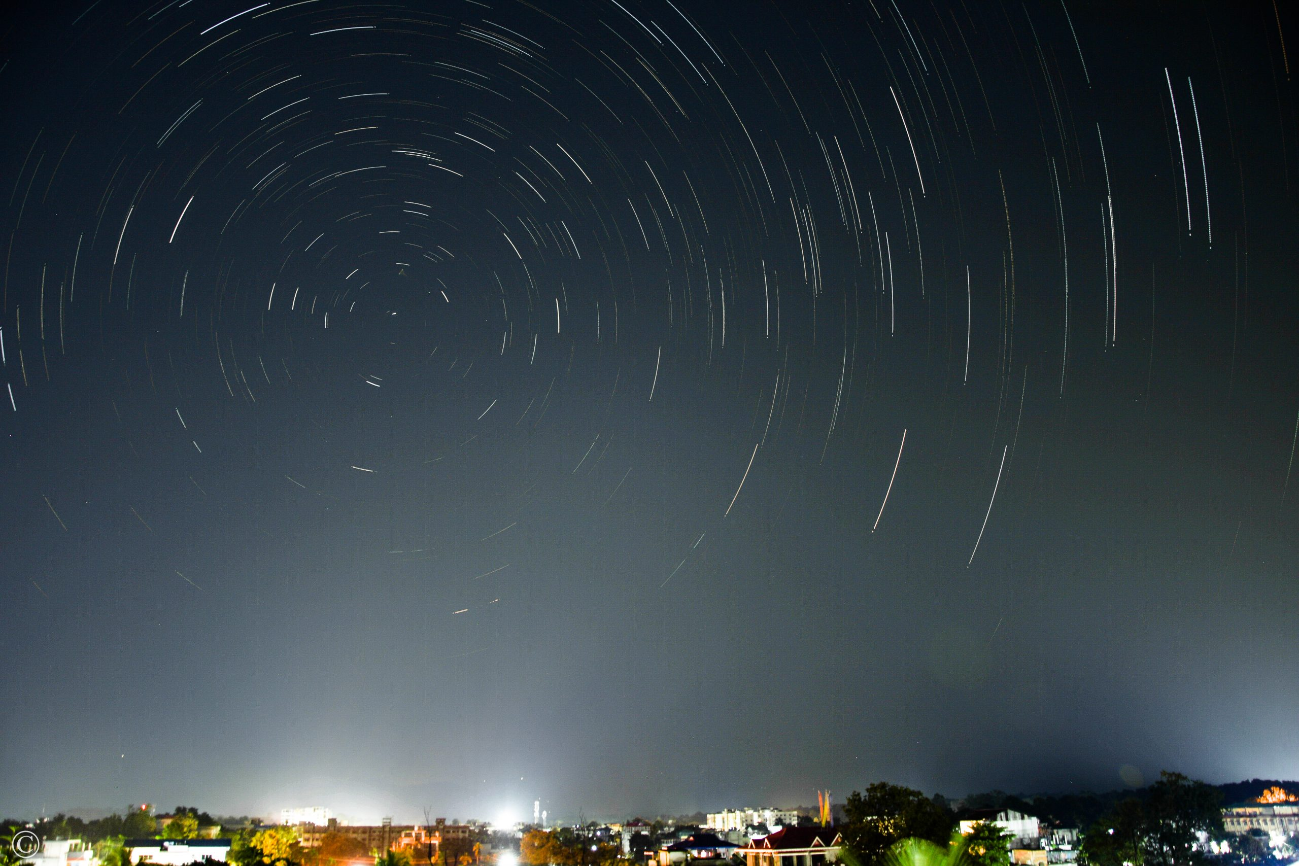 Star trails in the sky