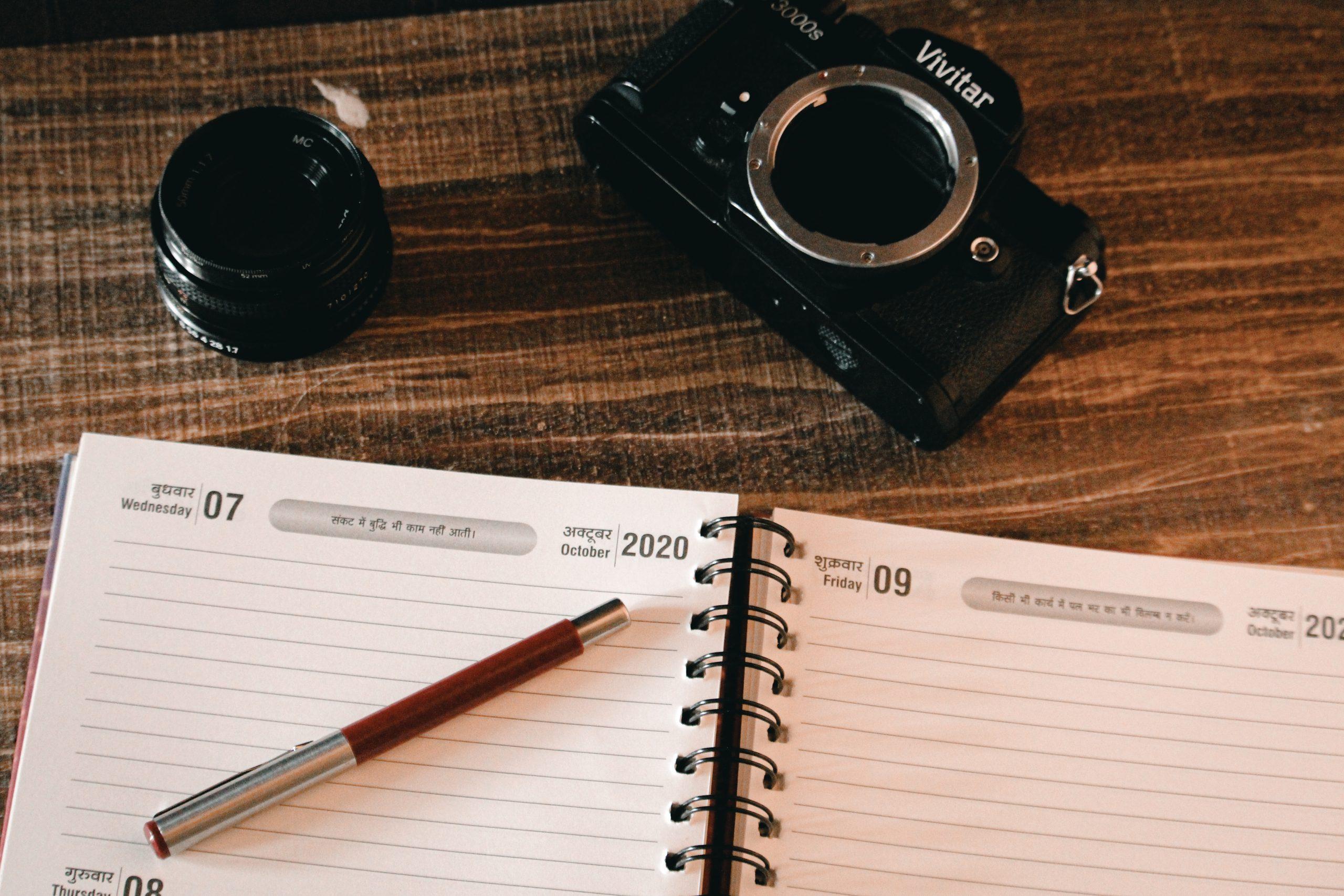 camera and diary