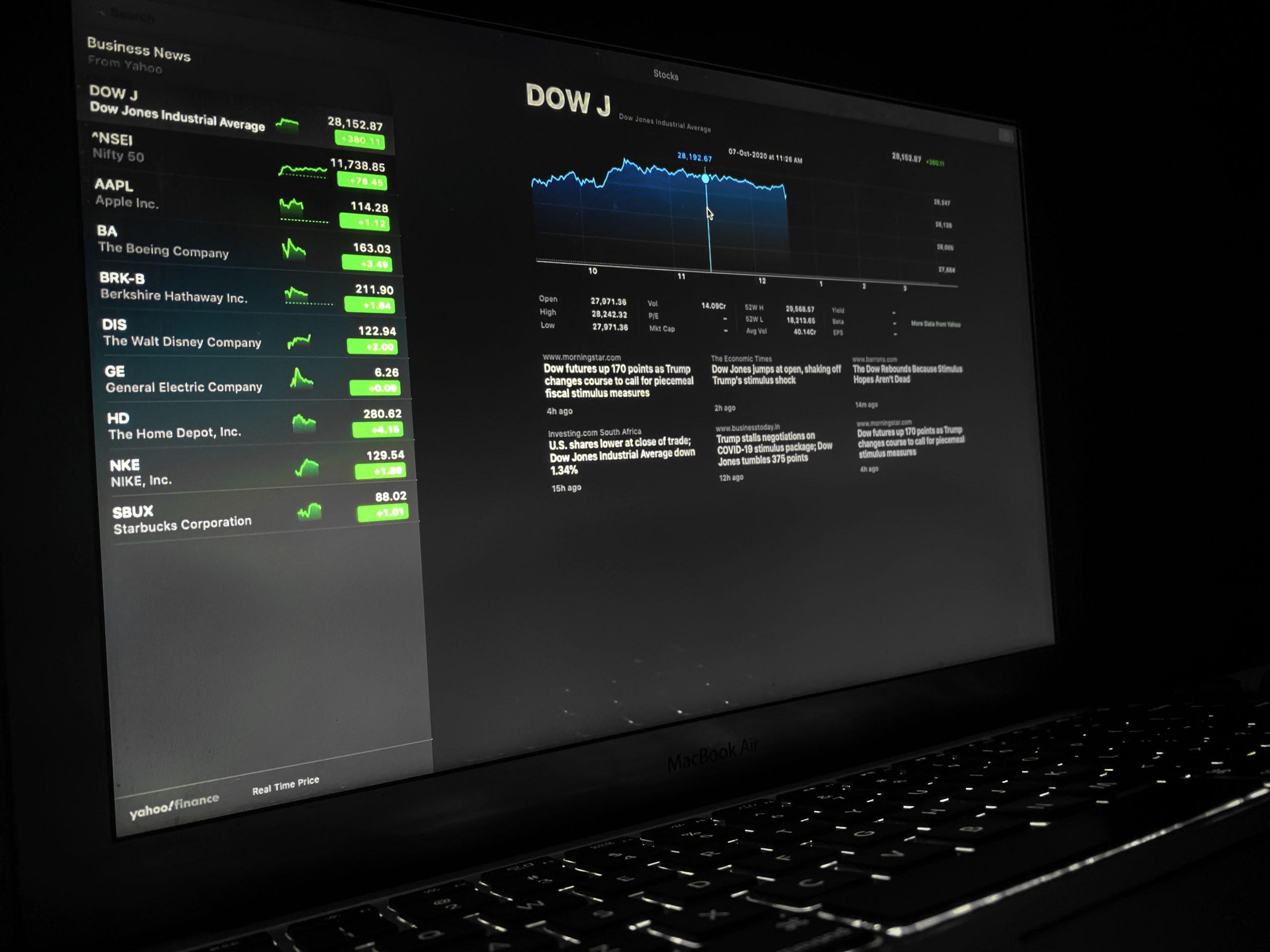 Stock Market details in a laptop