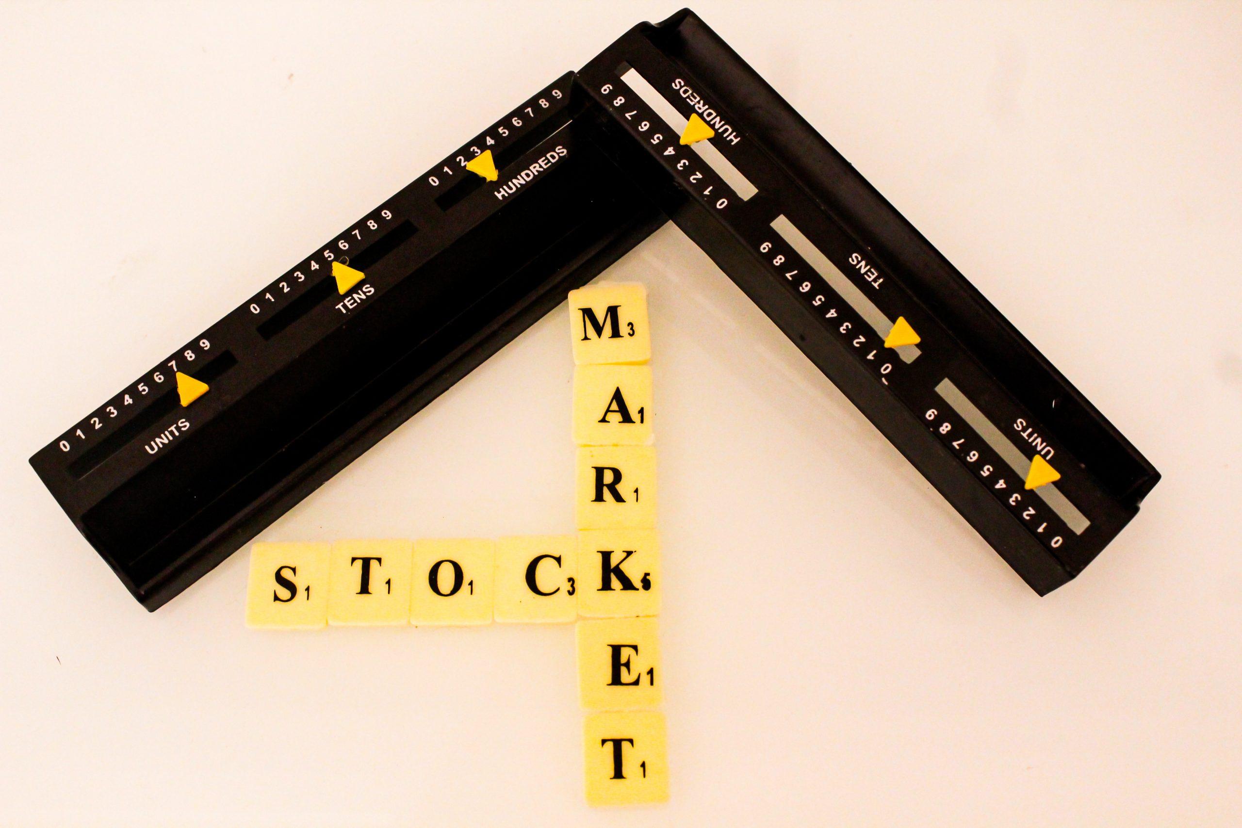 Stock market written on scrabble