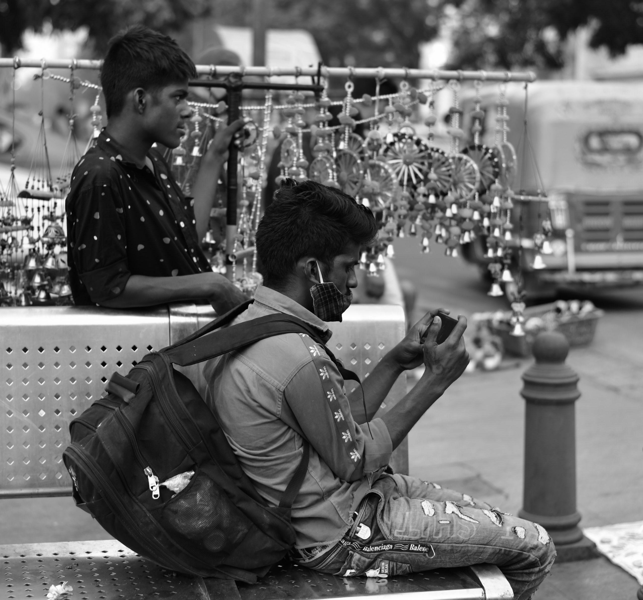Street vendors selling decoration items