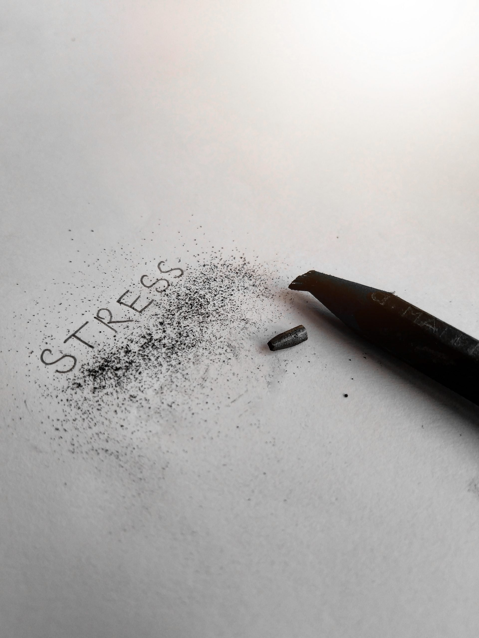 Stress written with a pencil