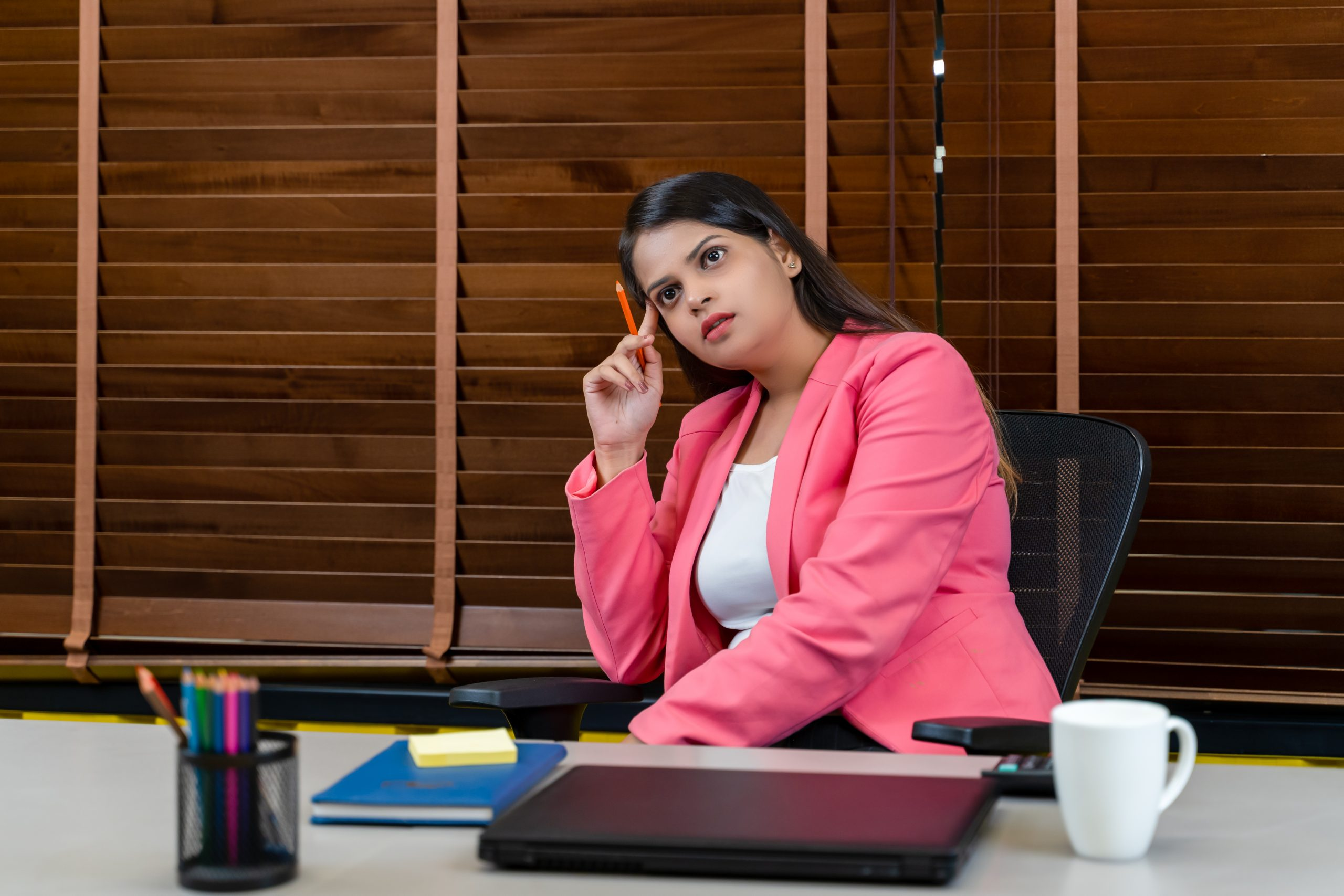 Stressed working woman