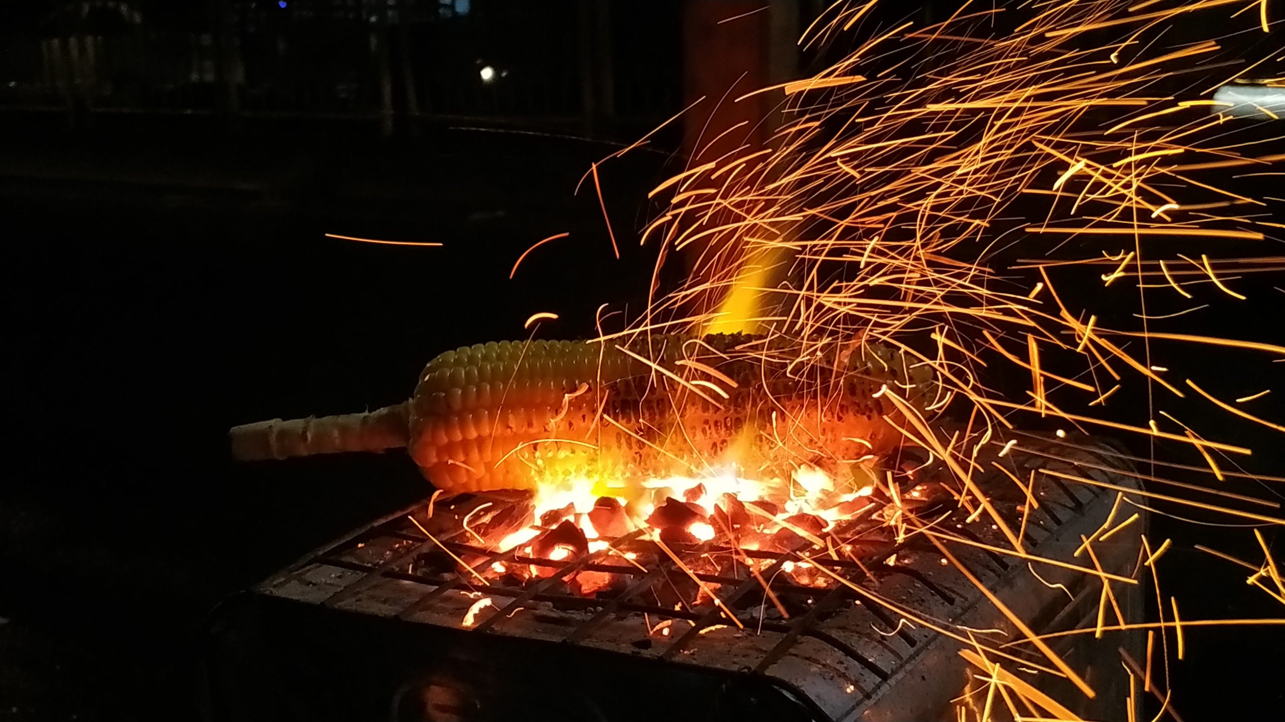 corn being roasted