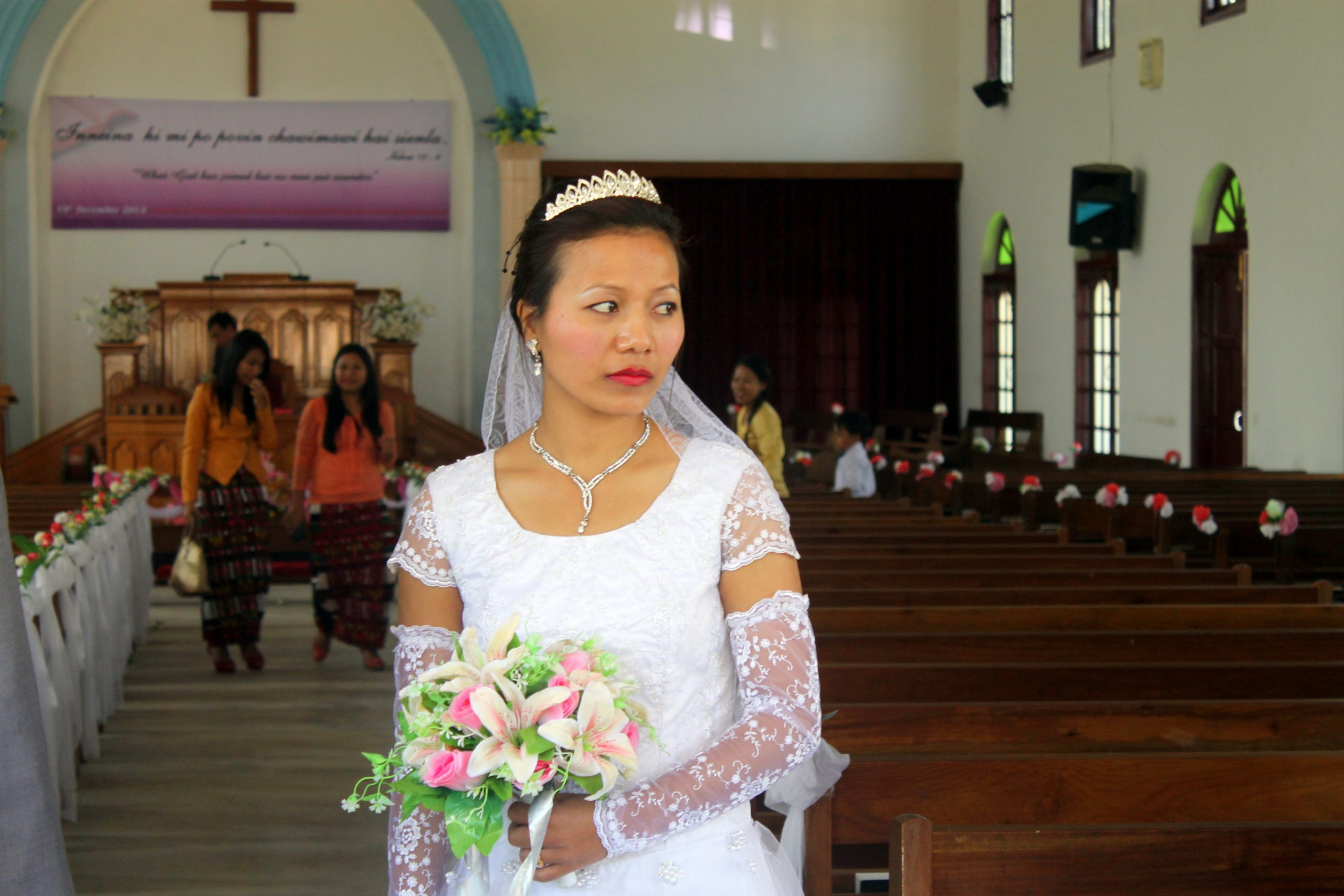 bride in a church