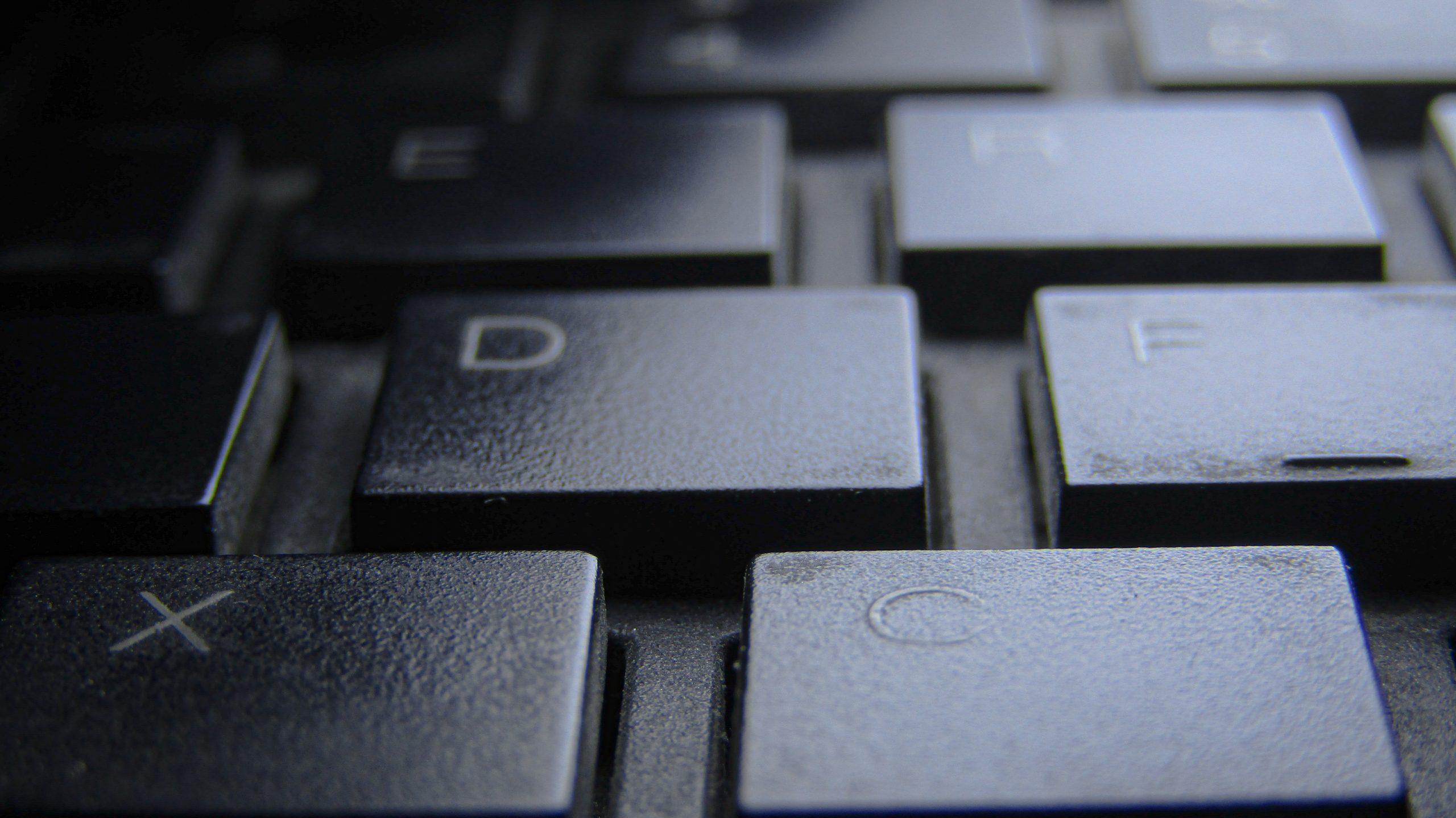 Keys of a laptop keyboard