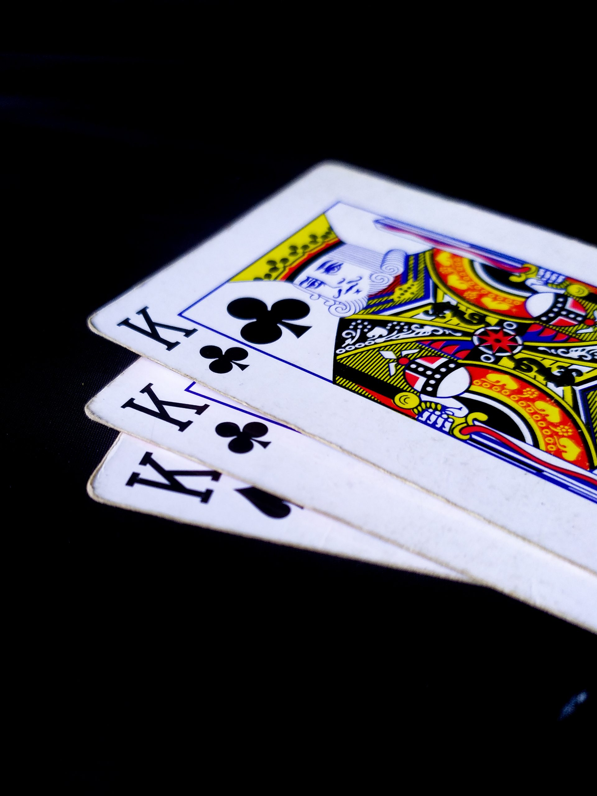 Three kings of playing cards