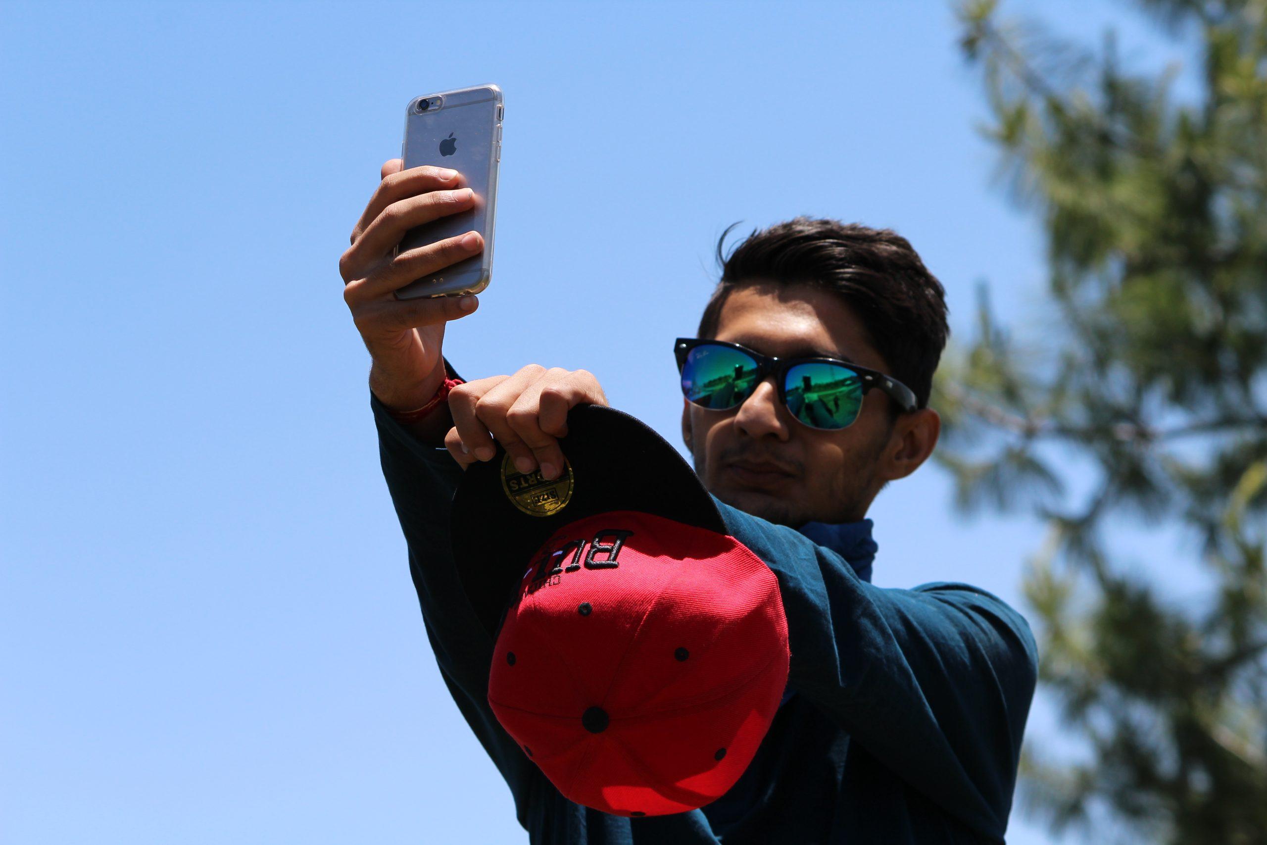 A boy taking selfie