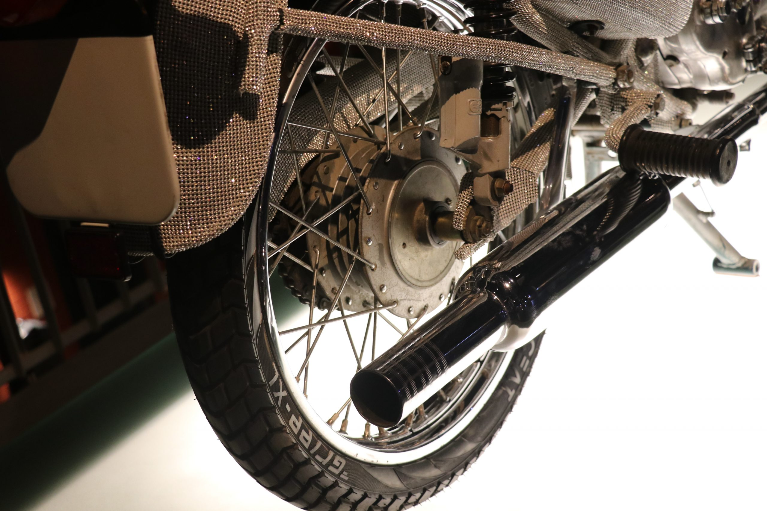 Tyre and silencer of a bike