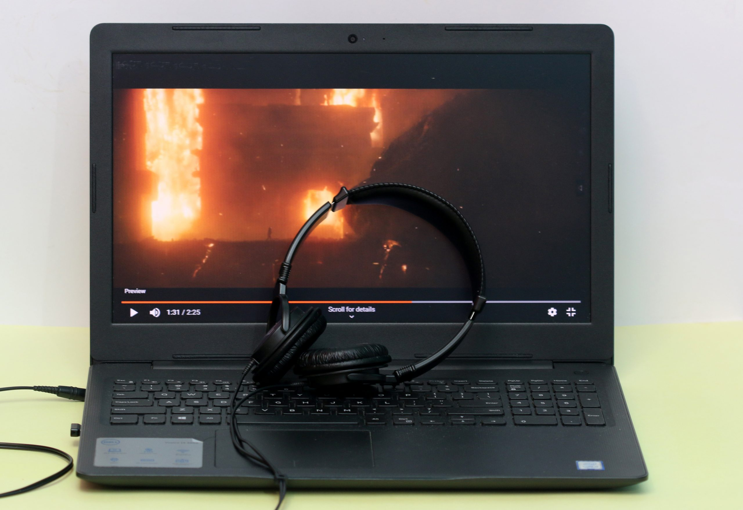Watching a movie in laptop