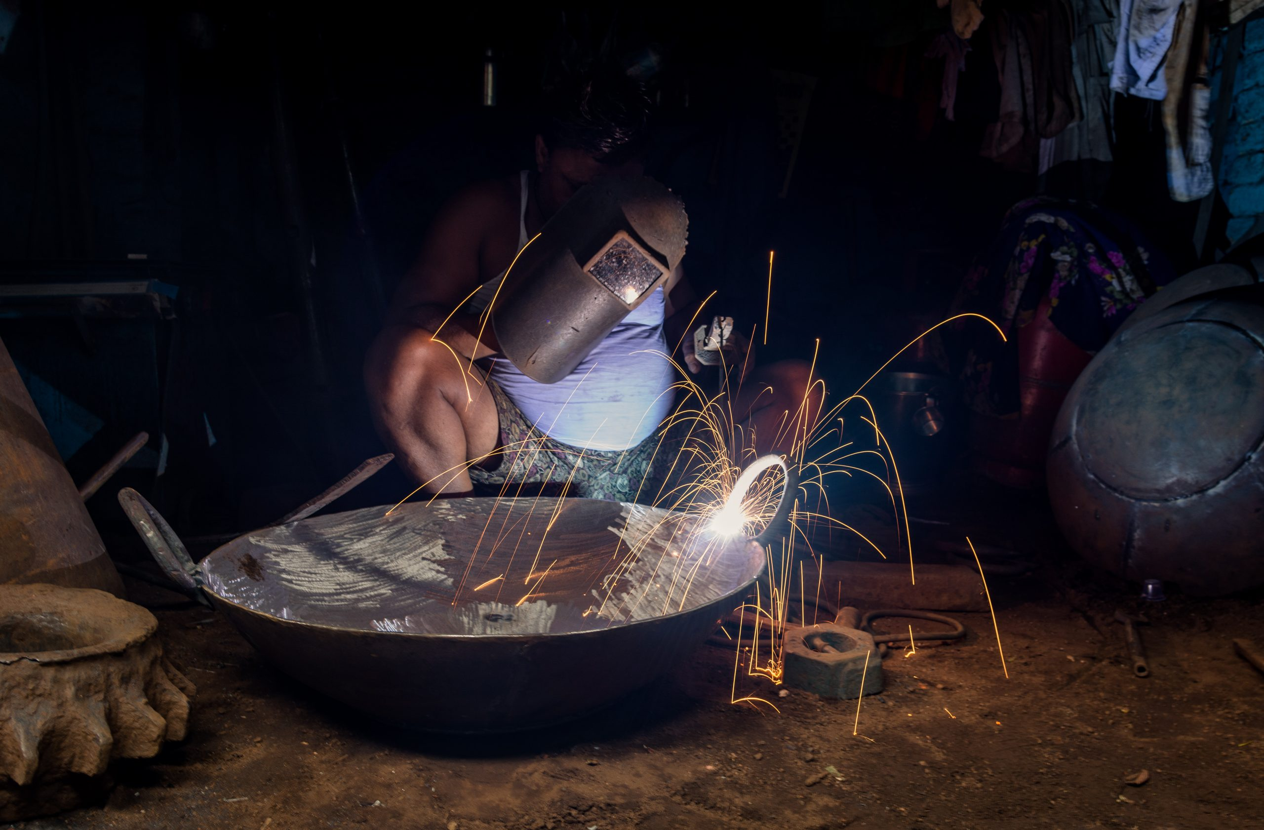 Welding work on a Cauldron