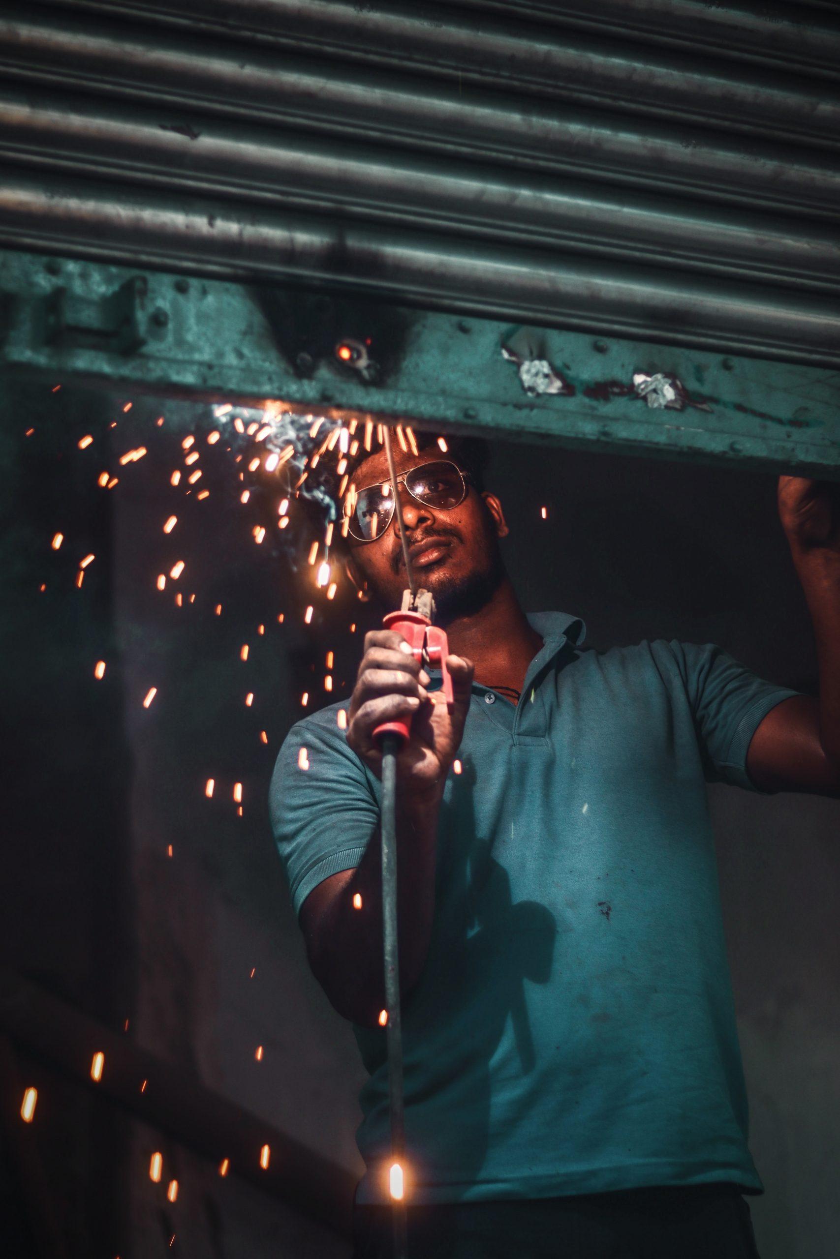 Welding work on a shutter