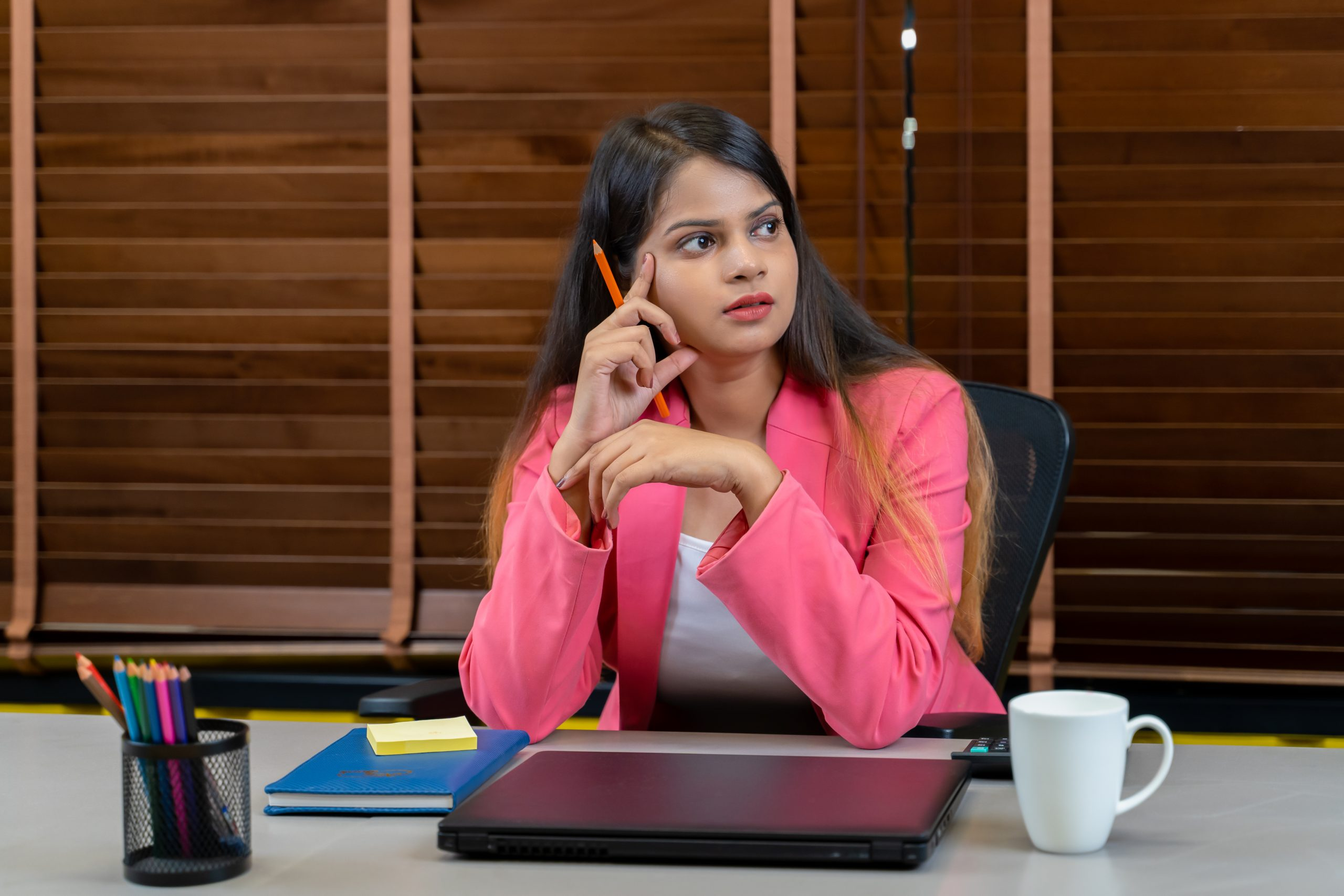 Working woman in a thought