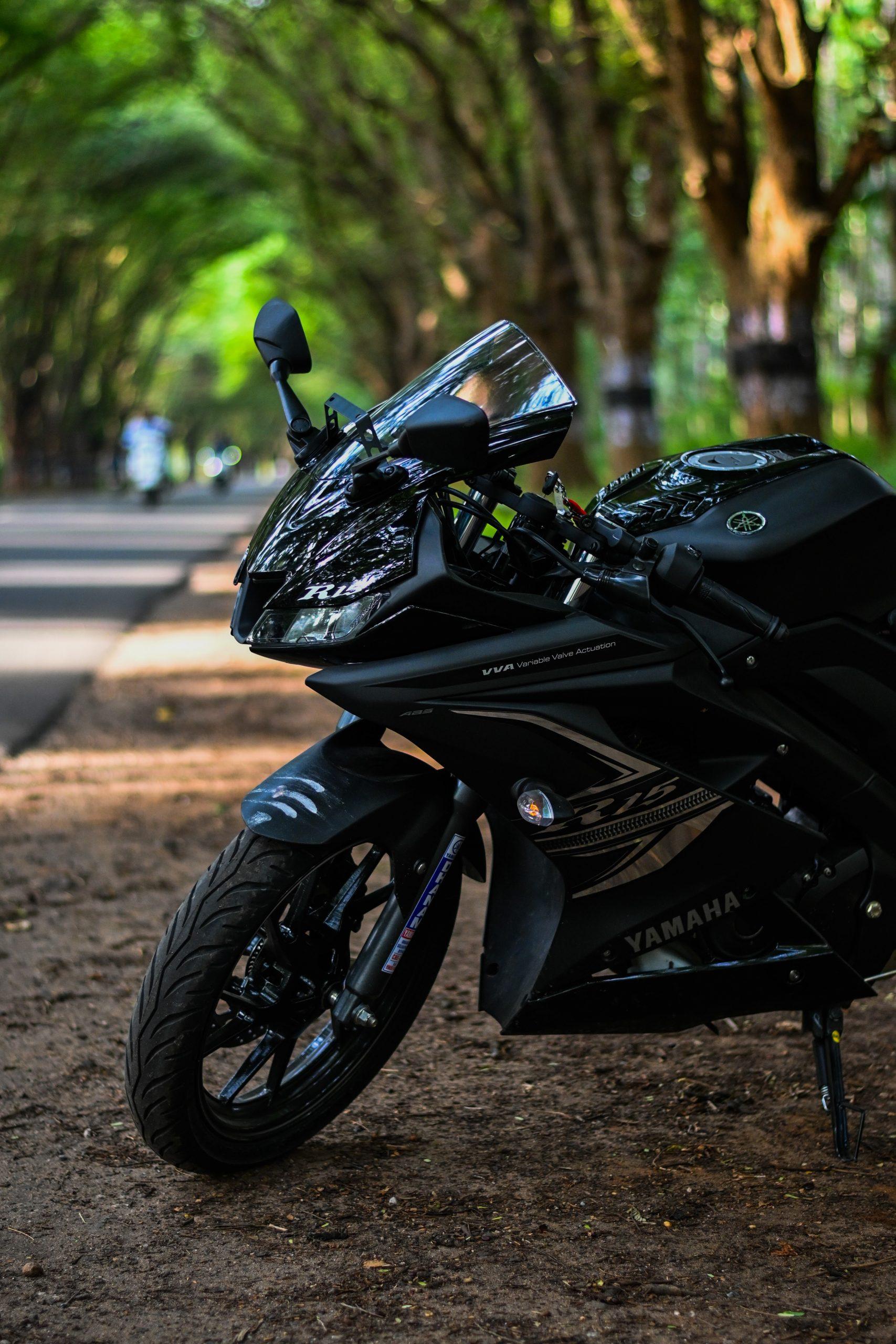A black sports bike
