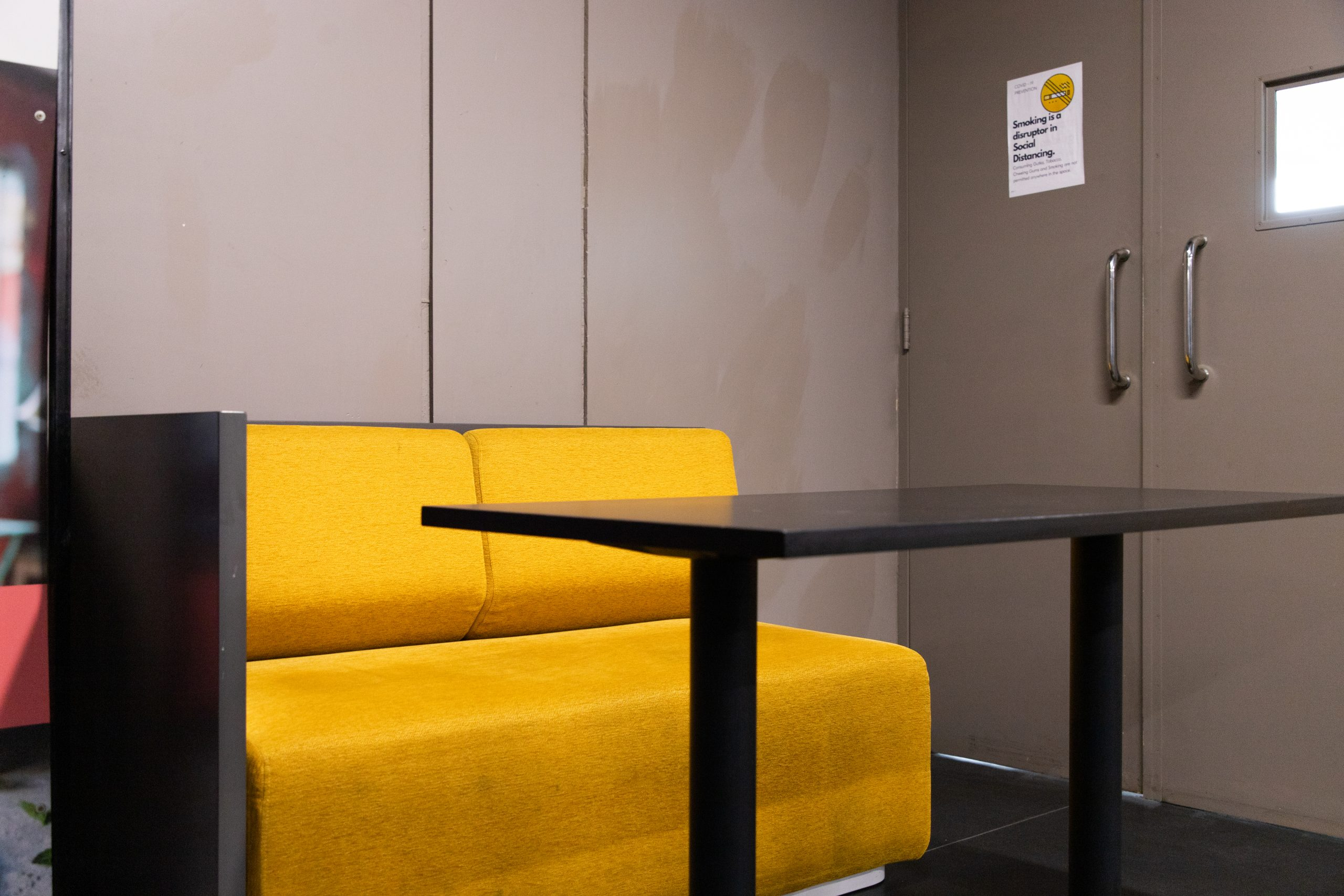 Yellow furniture in office