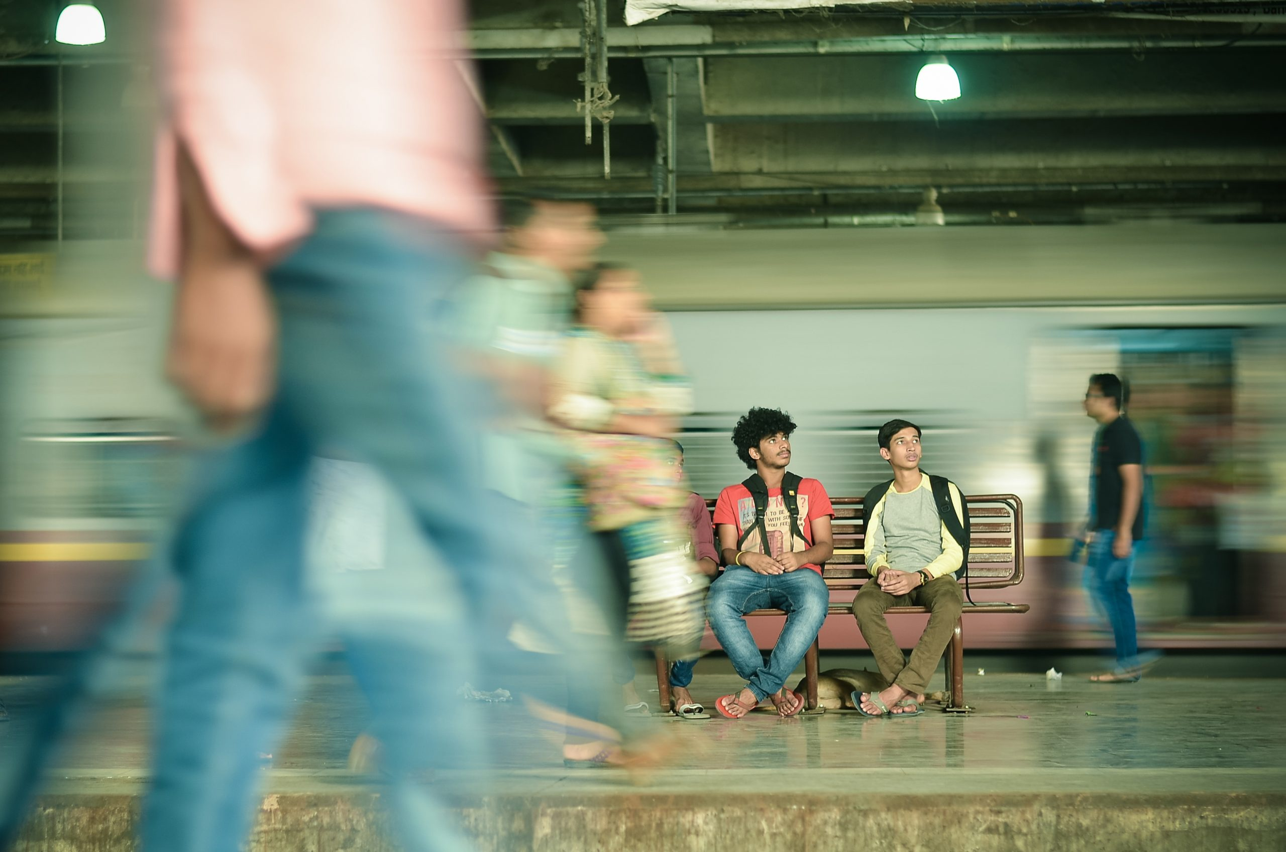 travelers waiting for train