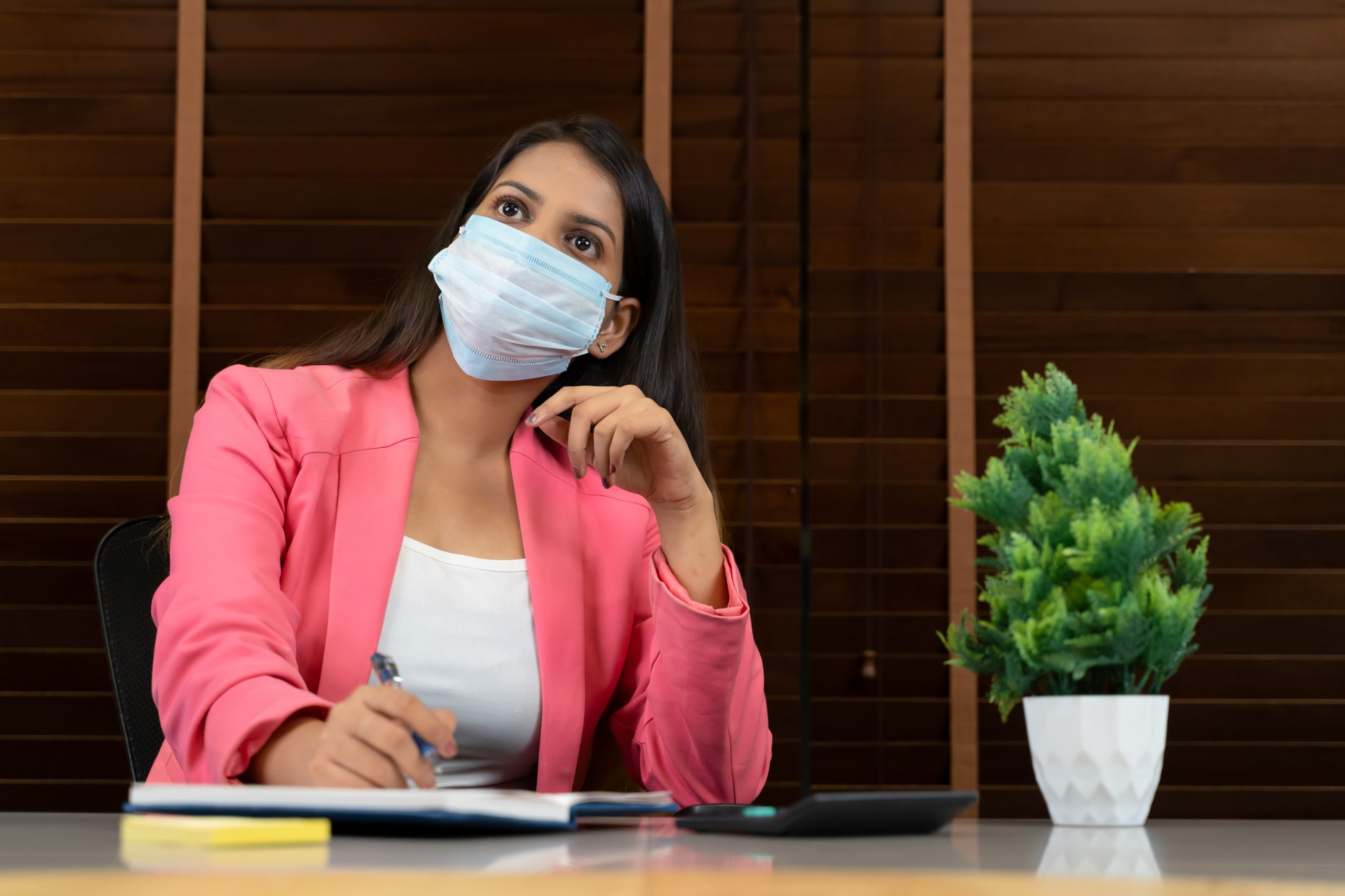 Young professional working in pandemic