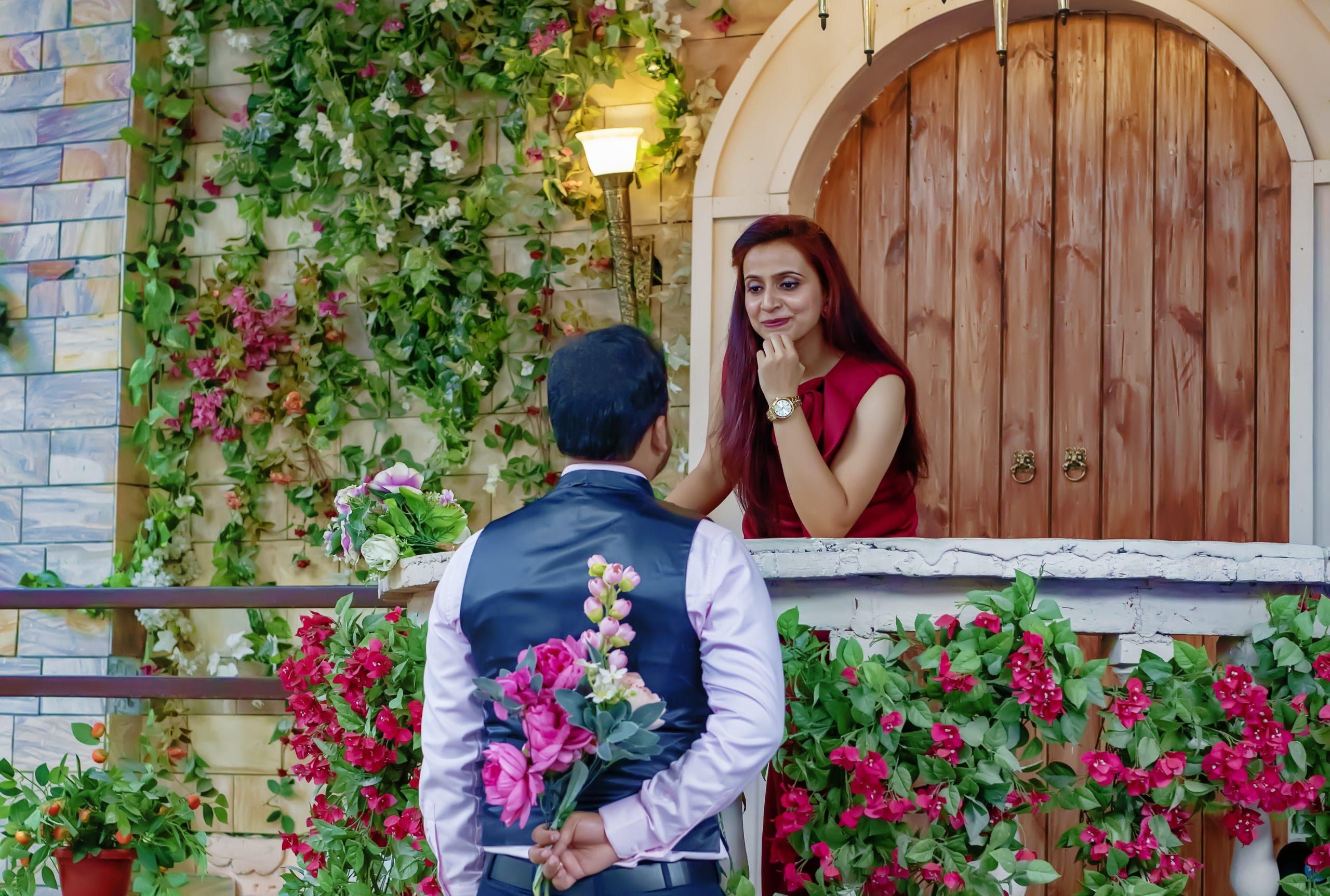 A boy proposing to a girl