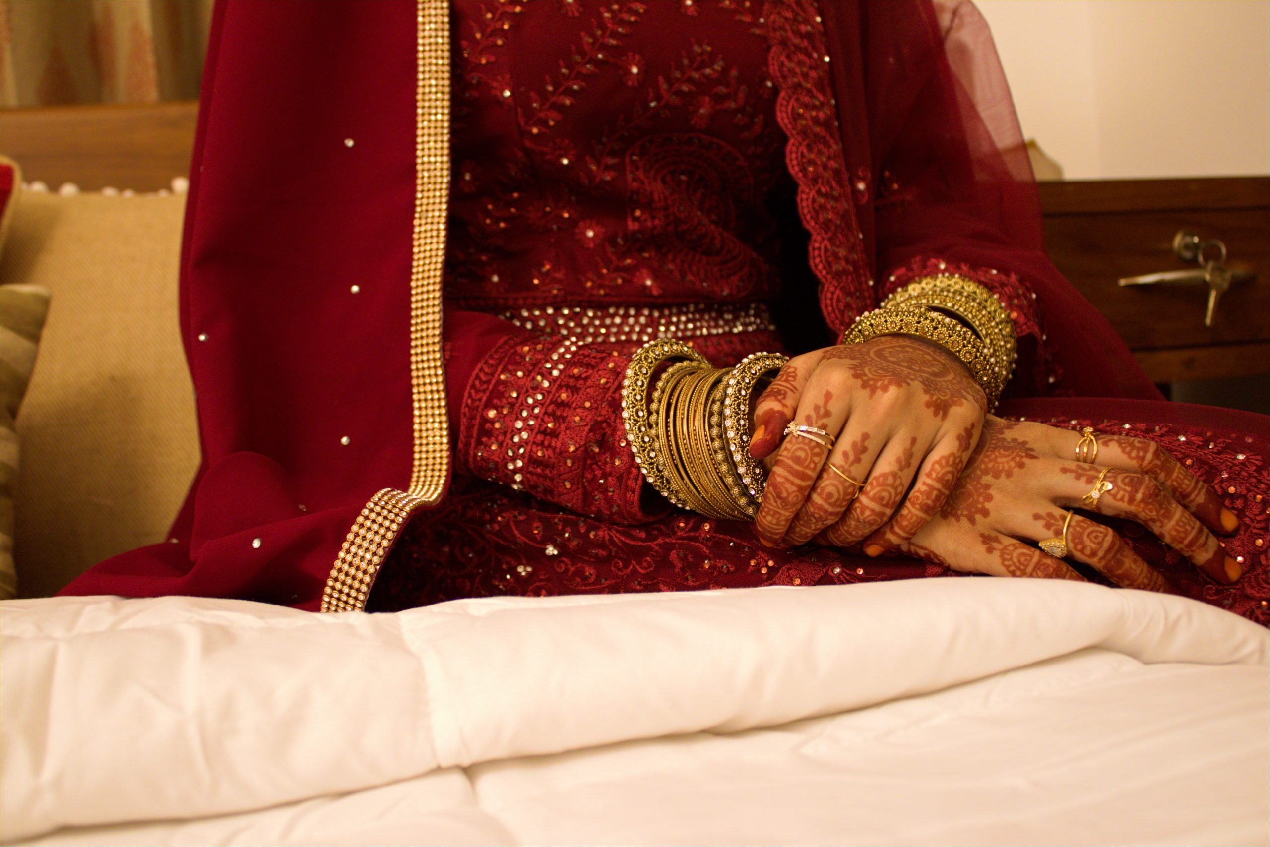 bride with bangles