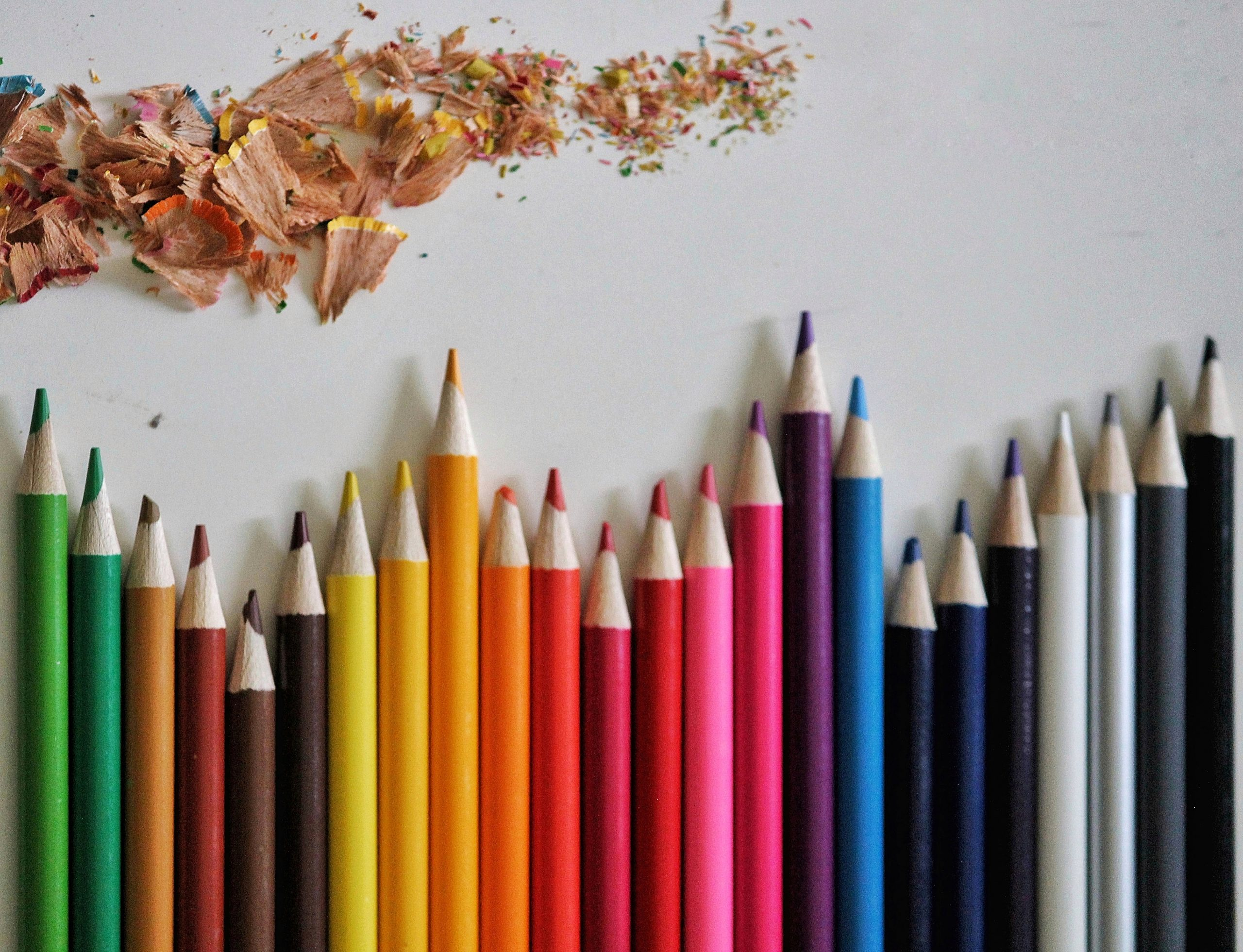 pencil colors and shavings
