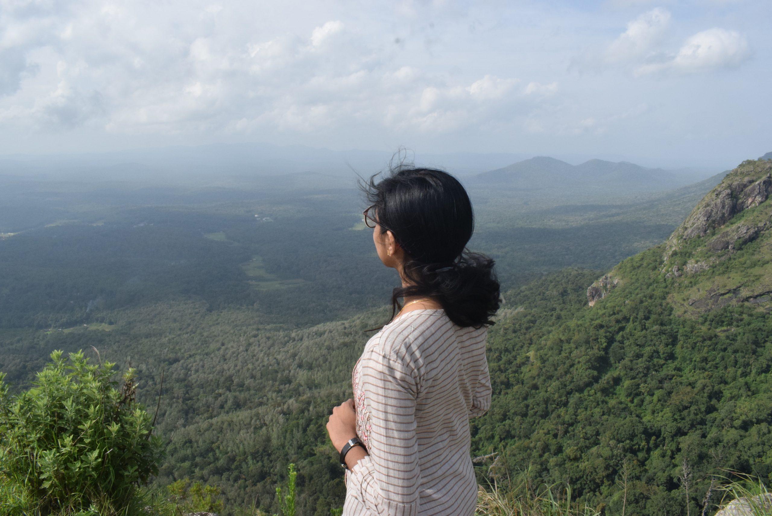girl admiring mountain view