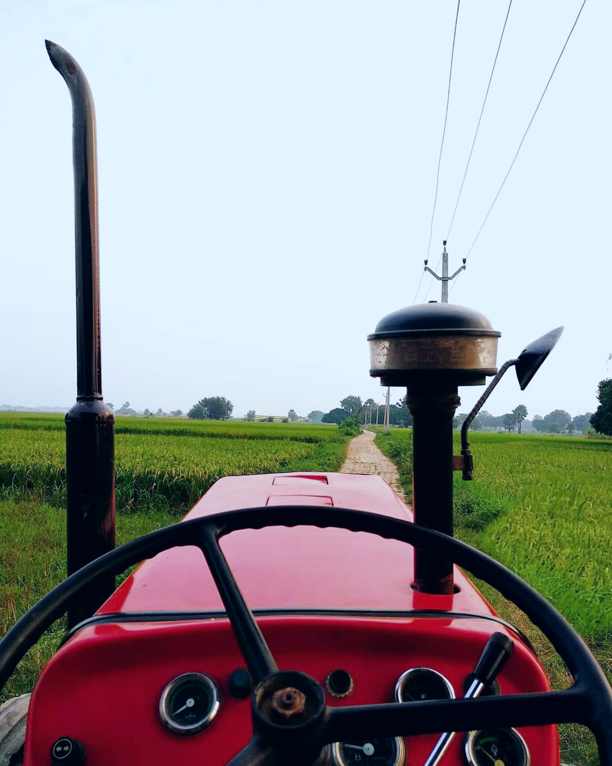 A tractor in the farm