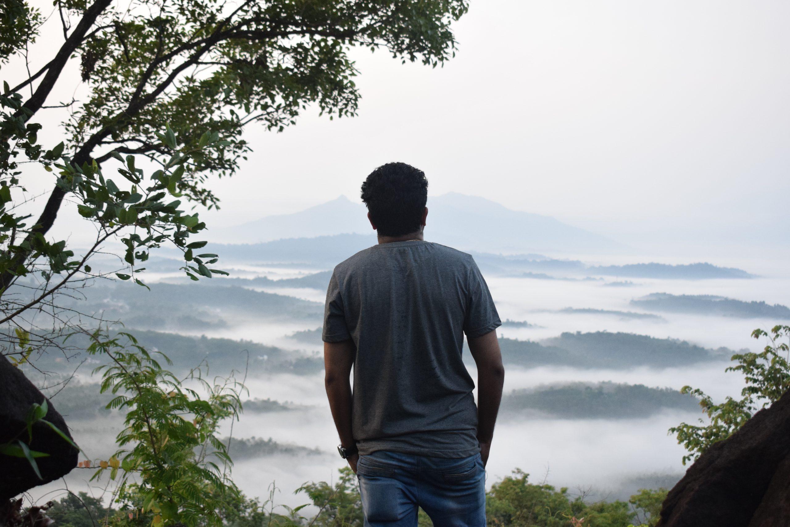 man admiring nature
