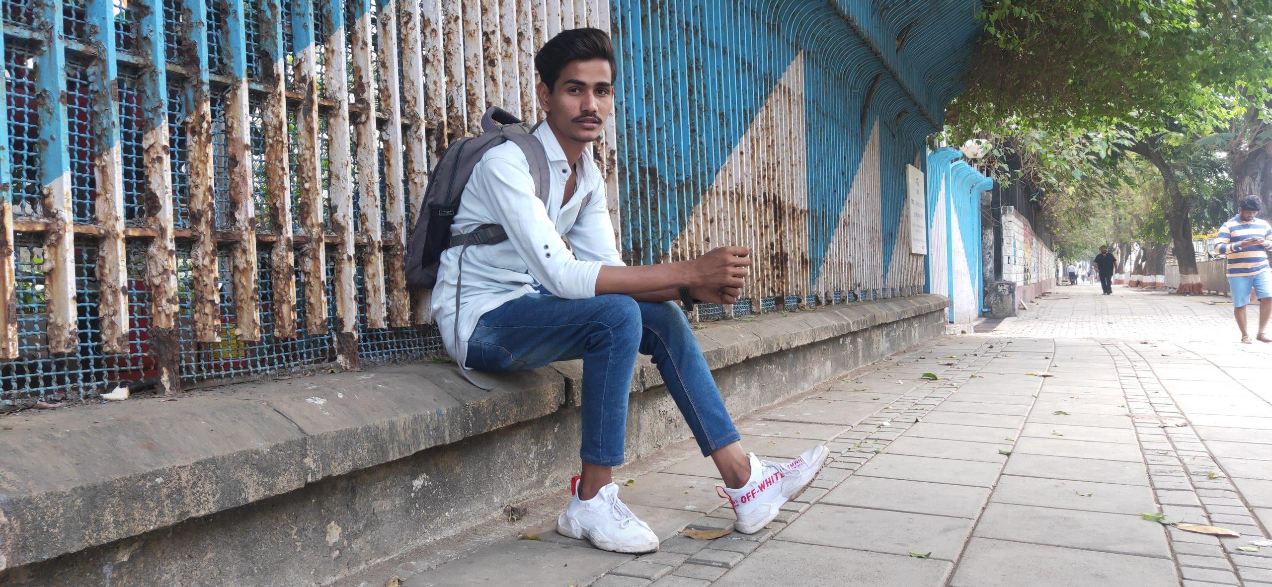 A boy in a city