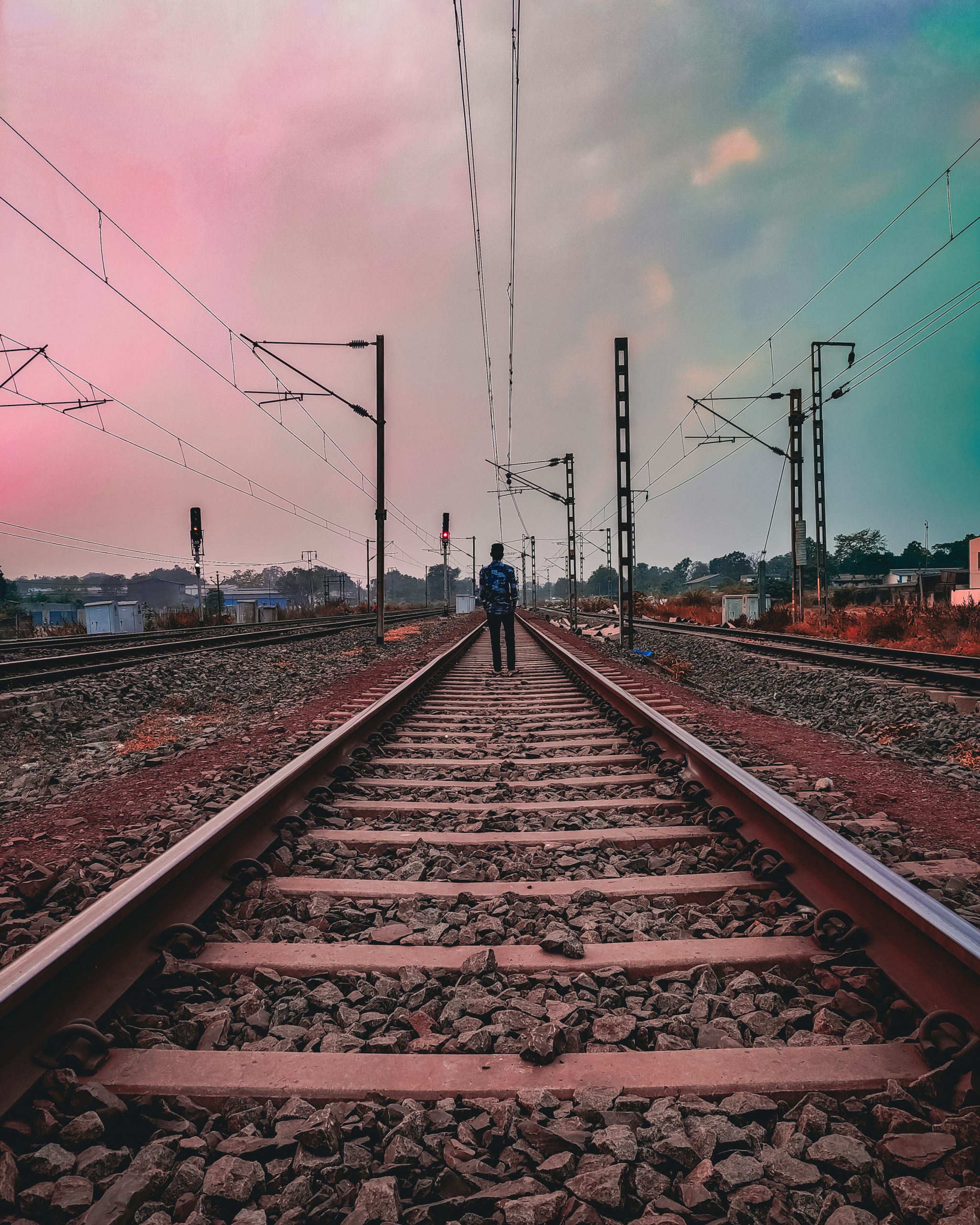 Man on railway track
